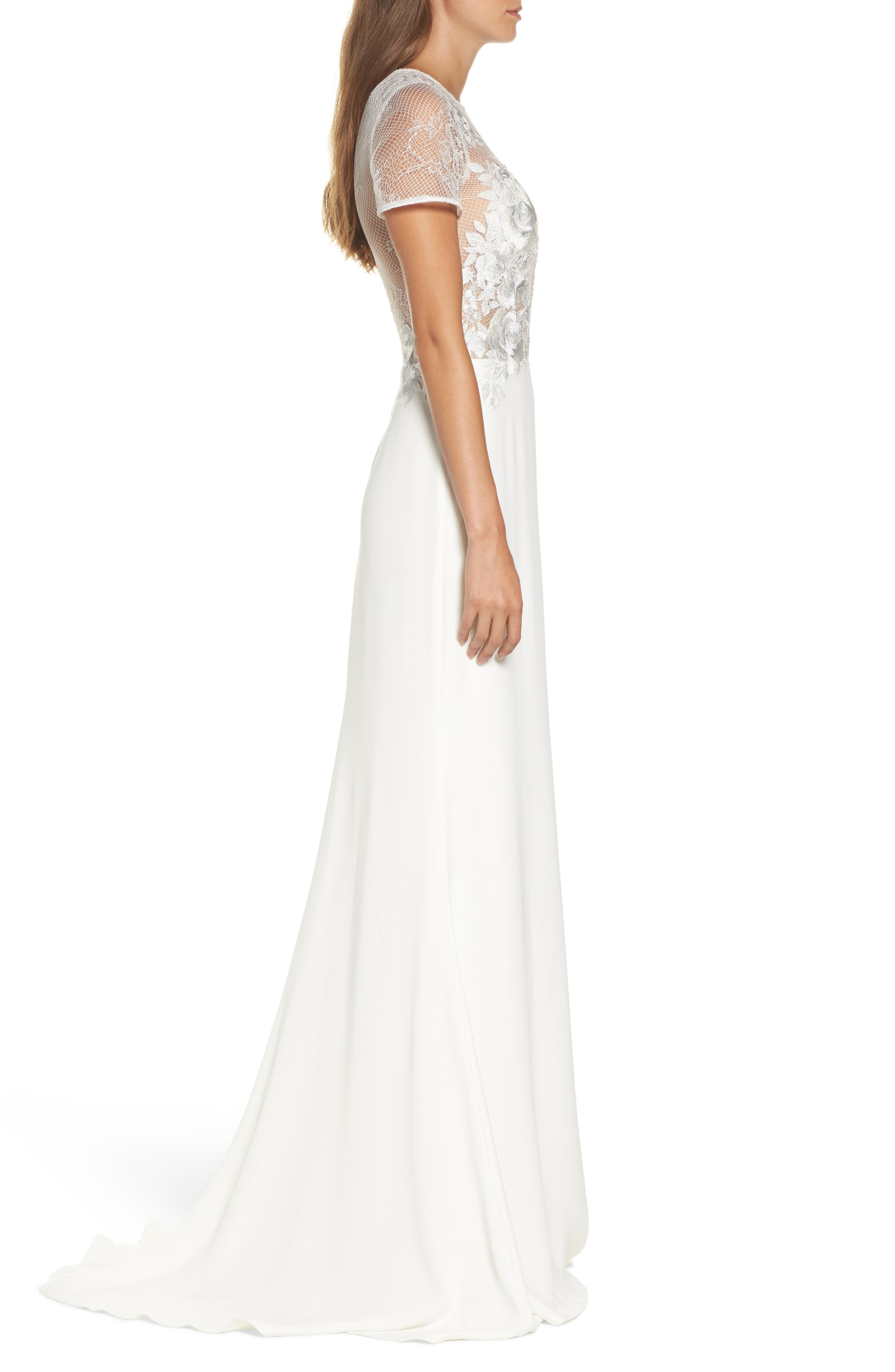Floral Mesh Top Trumpet Gown,                             Alternate thumbnail 3, color,                             Ivory