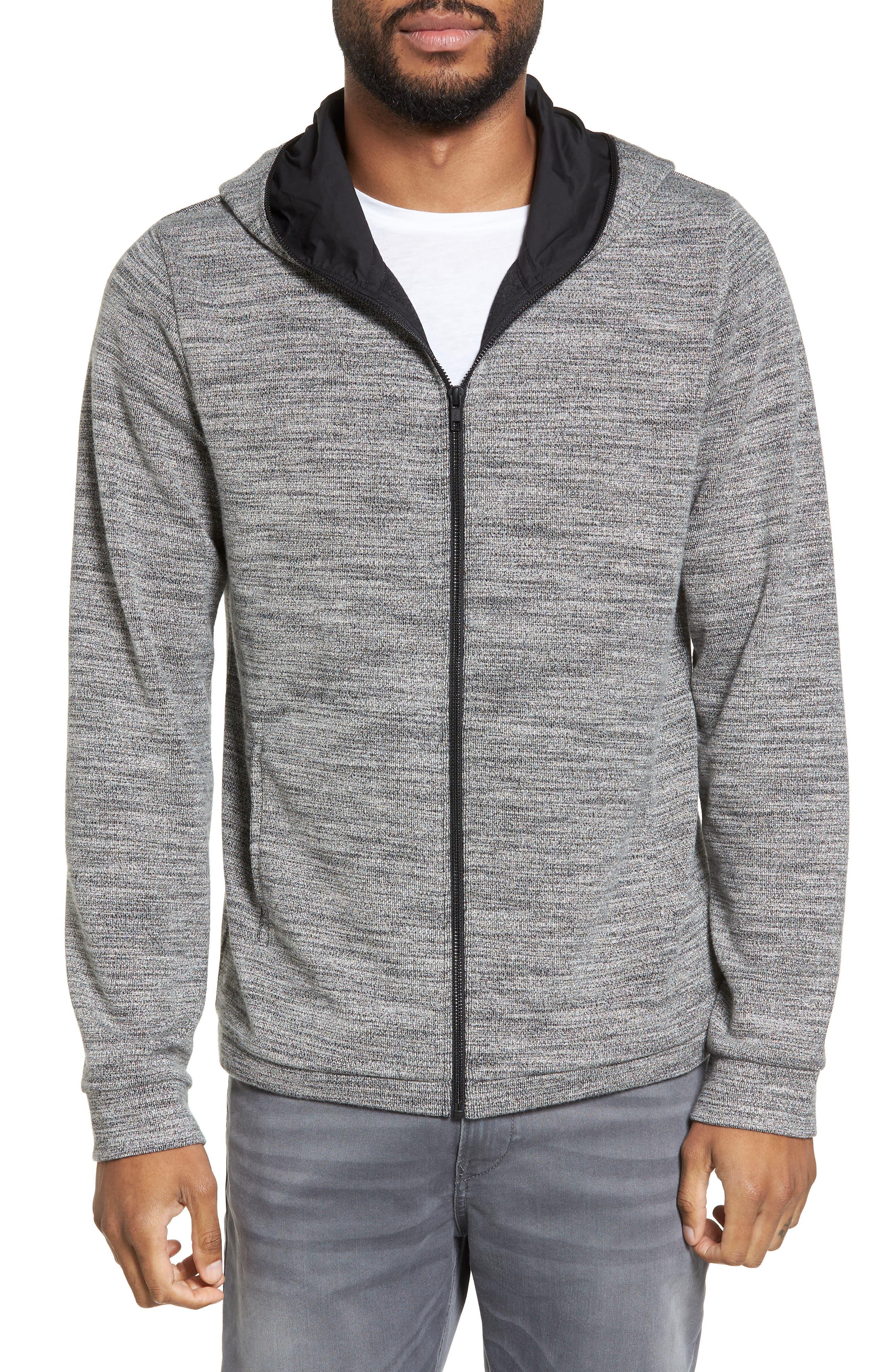 Trim Fit Lightweight Zip Hoodie,                         Main,                         color, Grey Sleet Spacedye