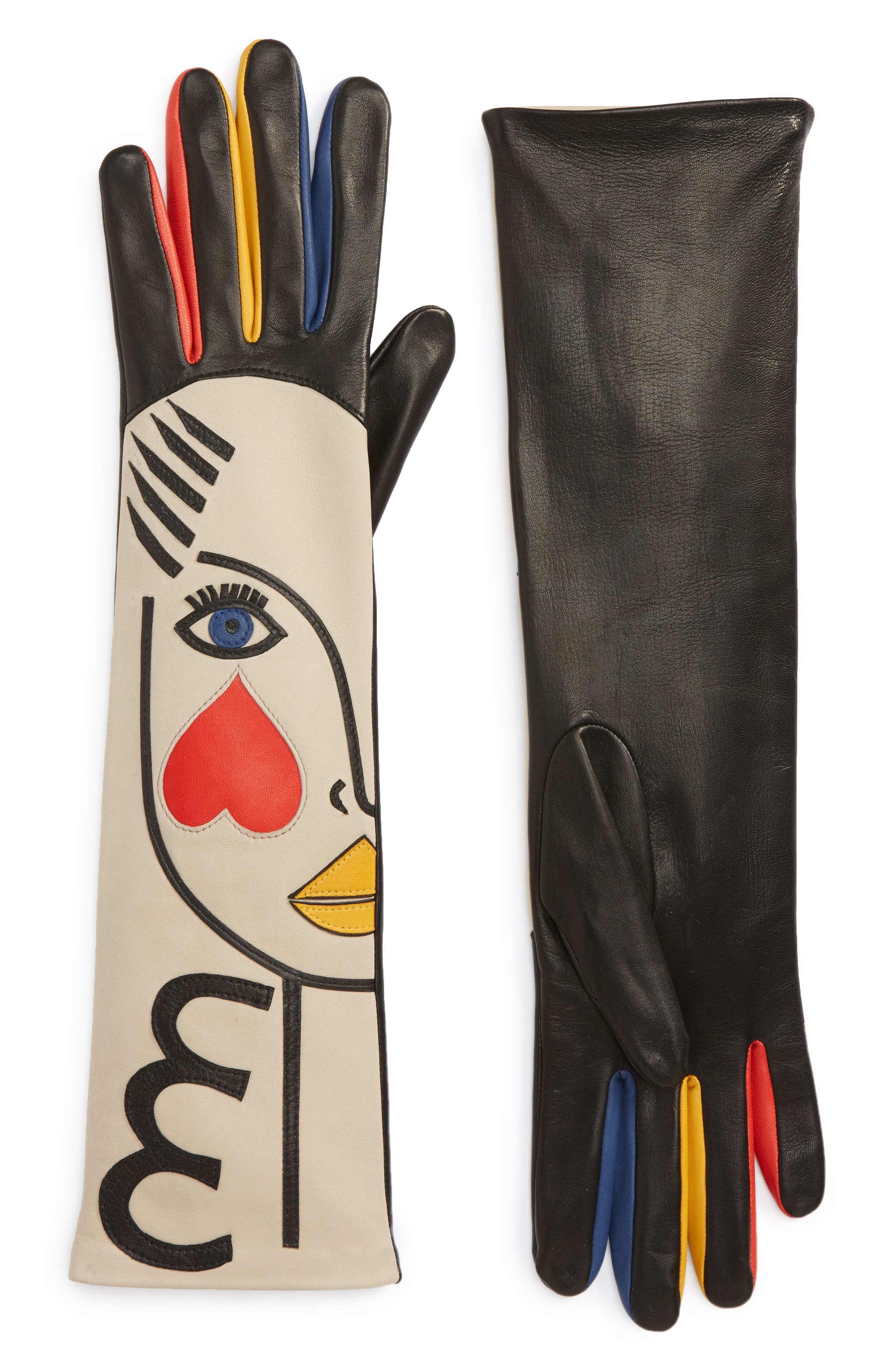 Double Moi Lambskin Leather Gloves,                         Main,                         color, Red Multi