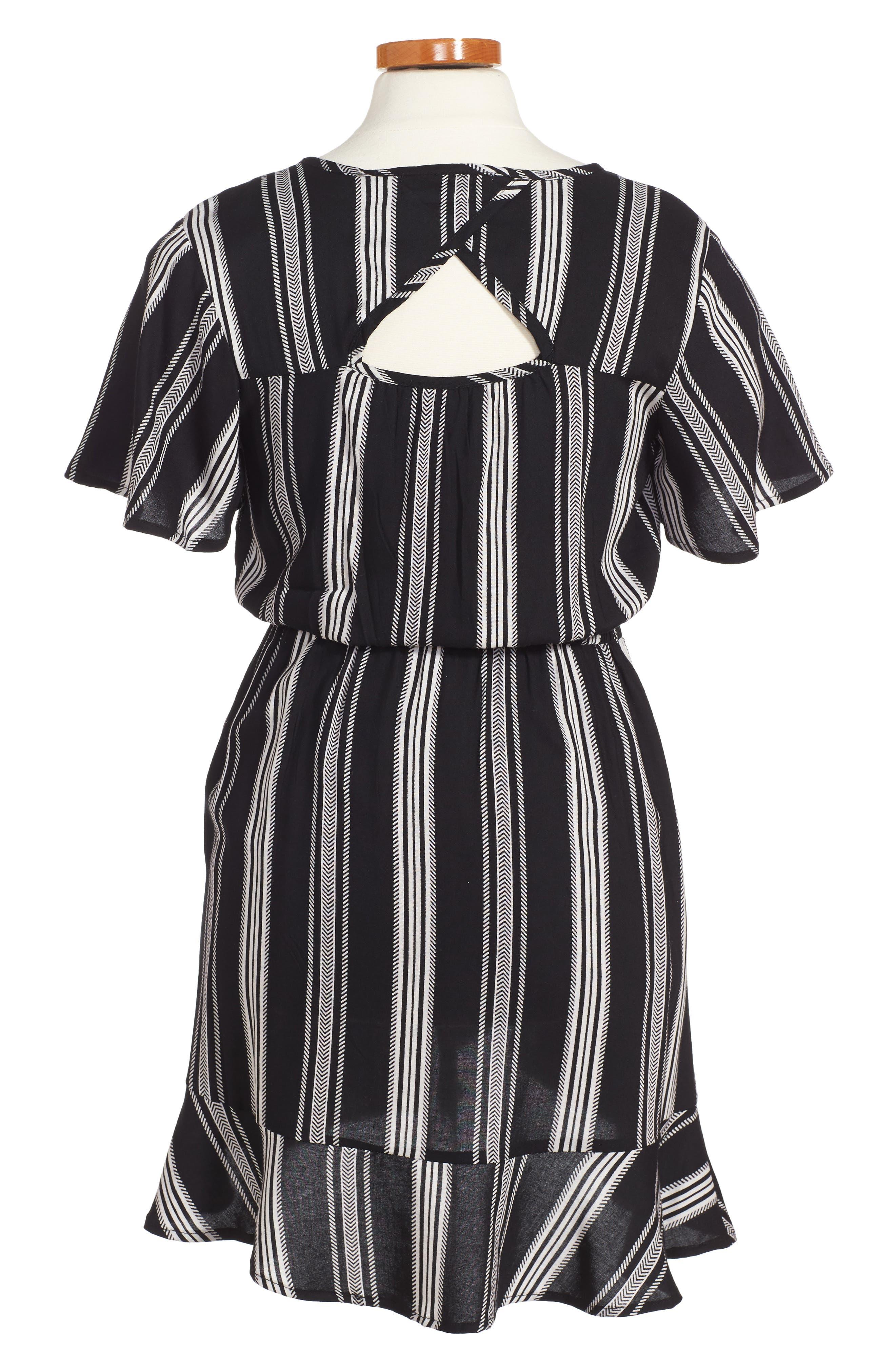 Alternate Image 2  - Zoe and Rose Stripe Flutter Sleeve Dress (Big Girls)