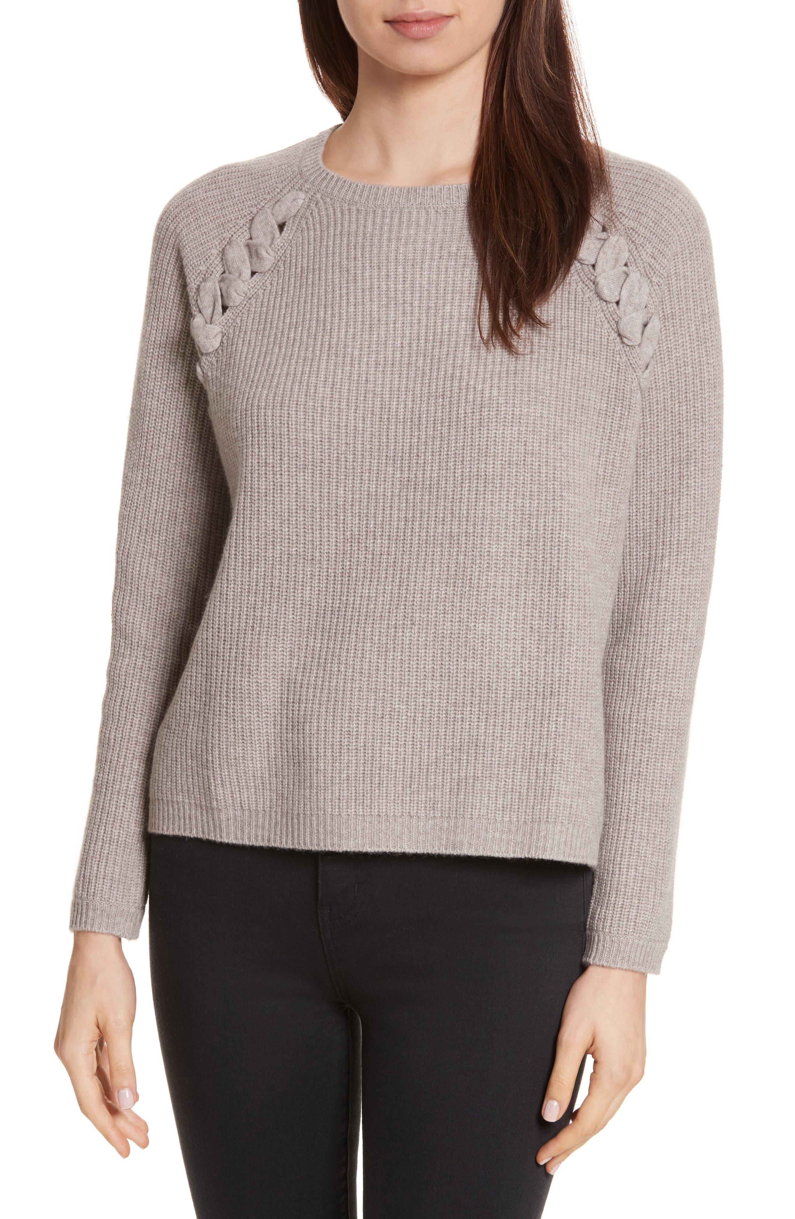 Main Image - Allude Merino Wool & Cashmere Braid Detail Sweater