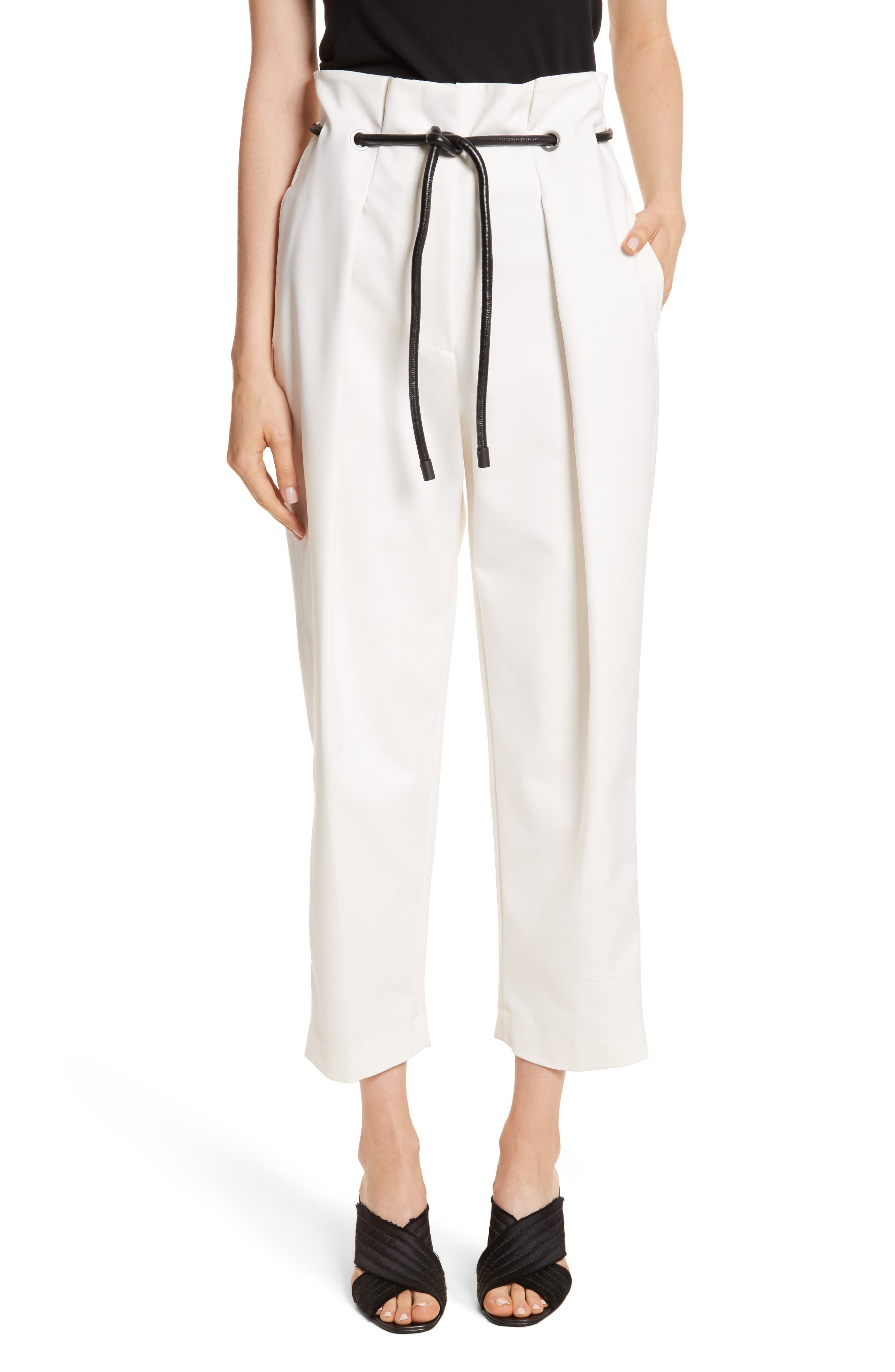 Origami Crop Flare Pants,                             Main thumbnail 1, color,                             White