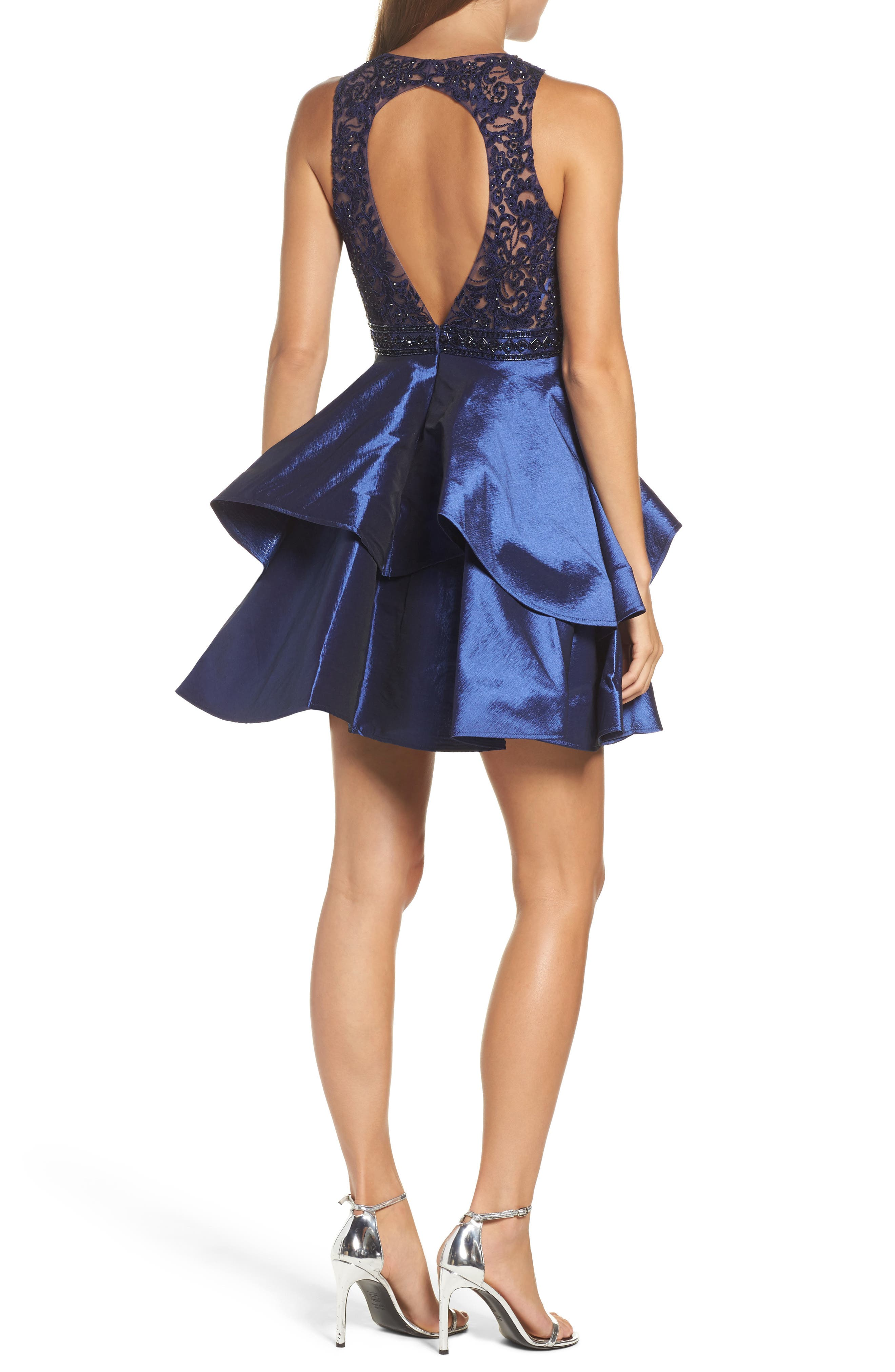 Lace Bodice Tiered Mikado Fit & Flare Dress,                             Alternate thumbnail 2, color,                             Navy