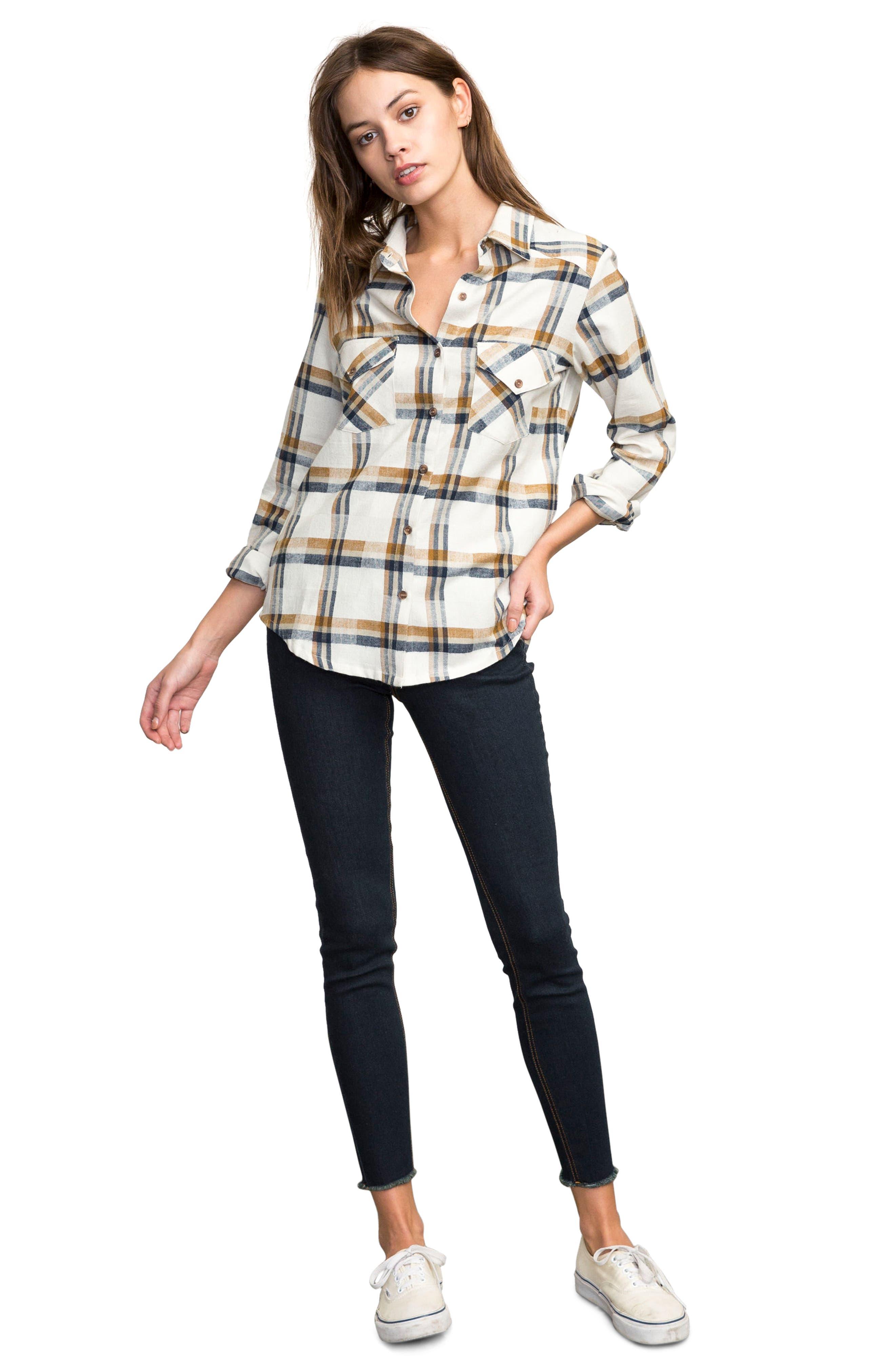 Plaid Flannel Shirt,                             Alternate thumbnail 4, color,                             Slb - Silver Bleach