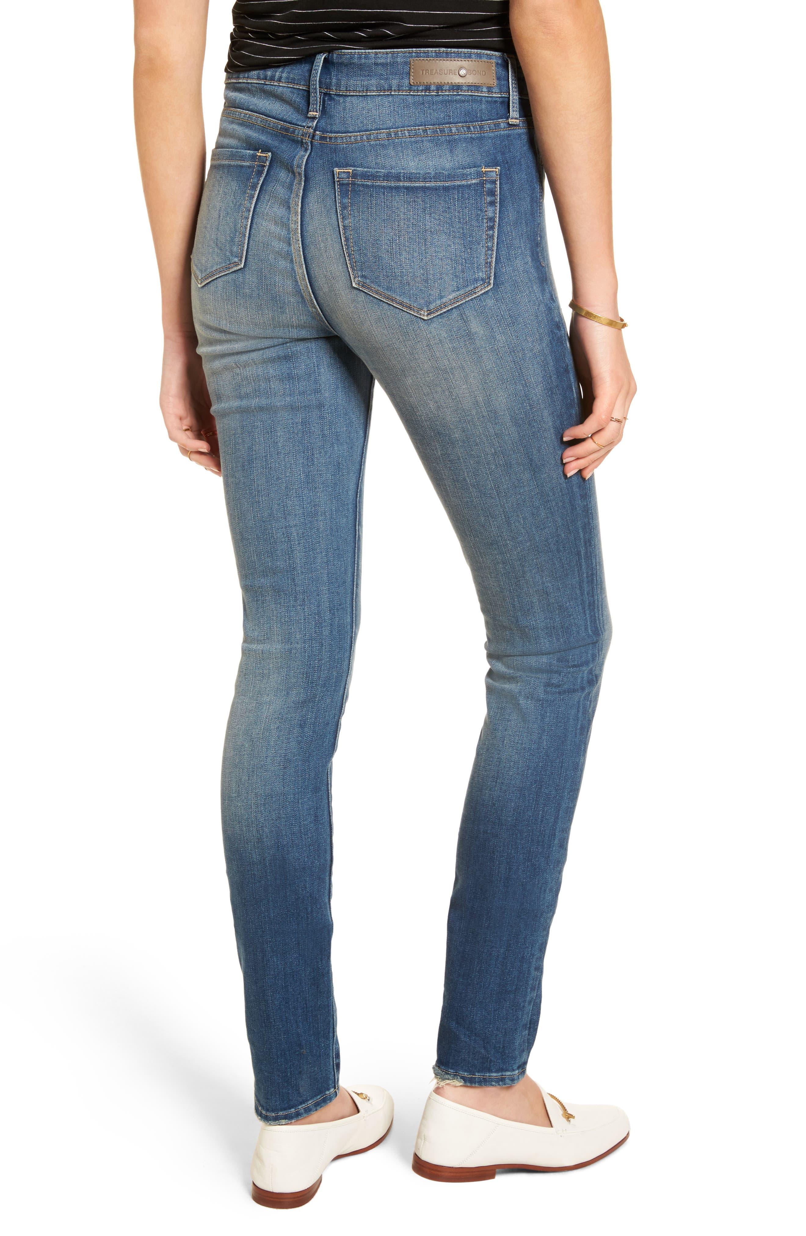 High Waist Skinny Jeans,                             Alternate thumbnail 3, color,                             Rain Medium Worn