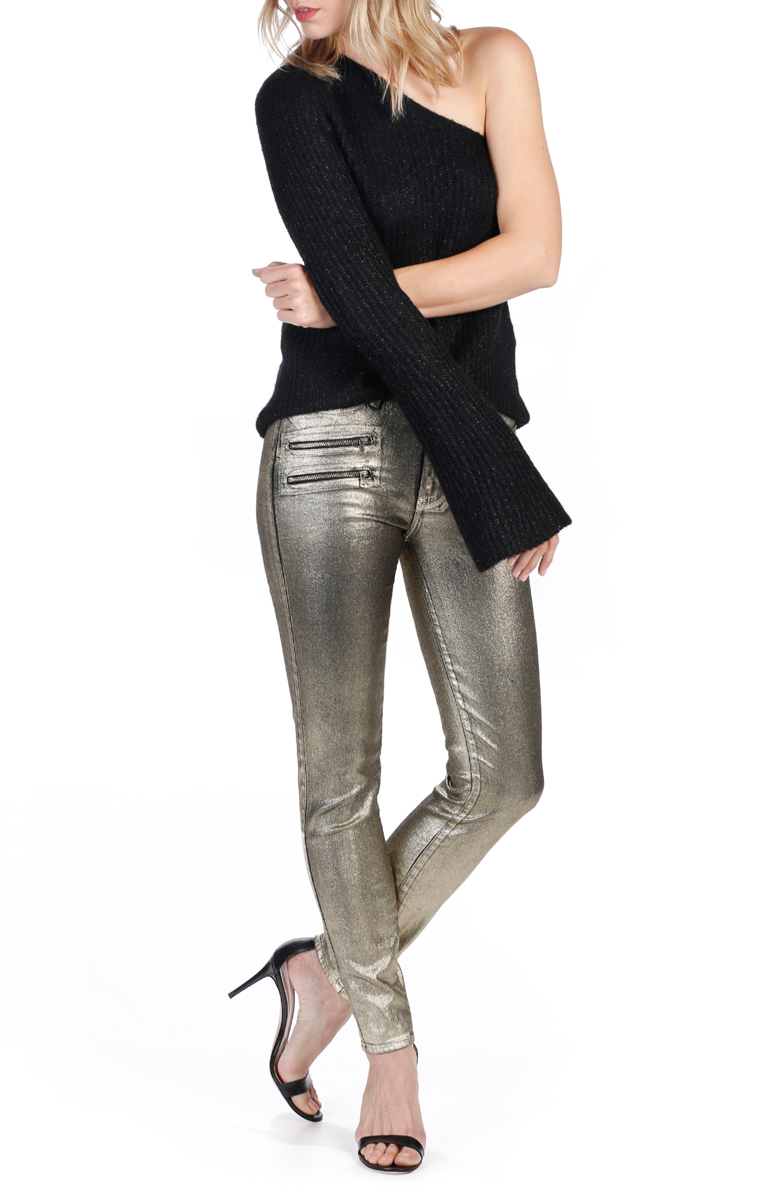 Alternate Image 3  - Rosie HW x PAIGE Stevie High Waist Skinny Jeans (Gold Galaxy Coating)