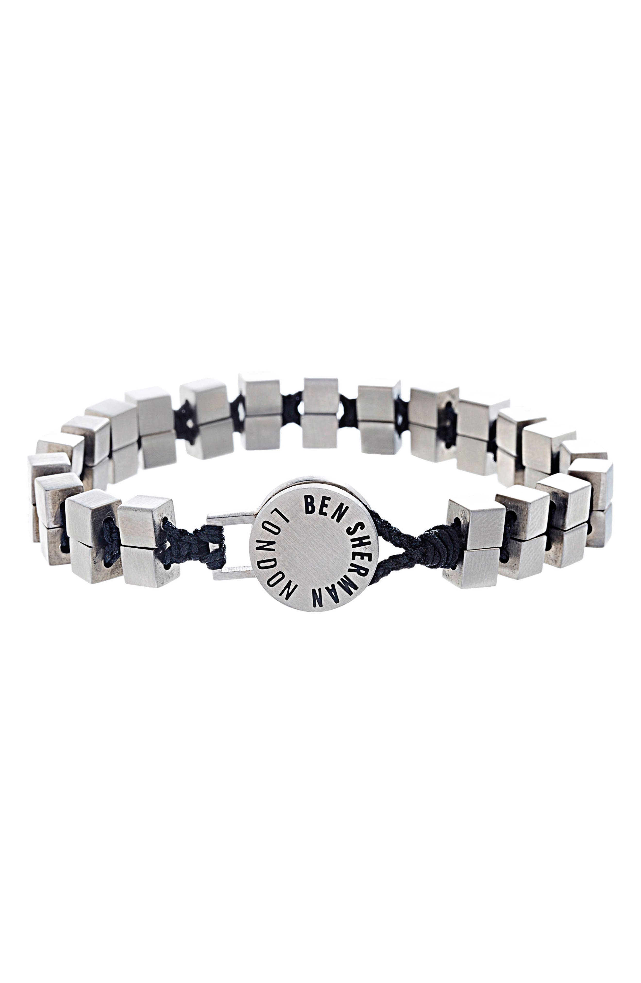 Cube Bead Cord Bracelet,                         Main,                         color, Black/ Silver