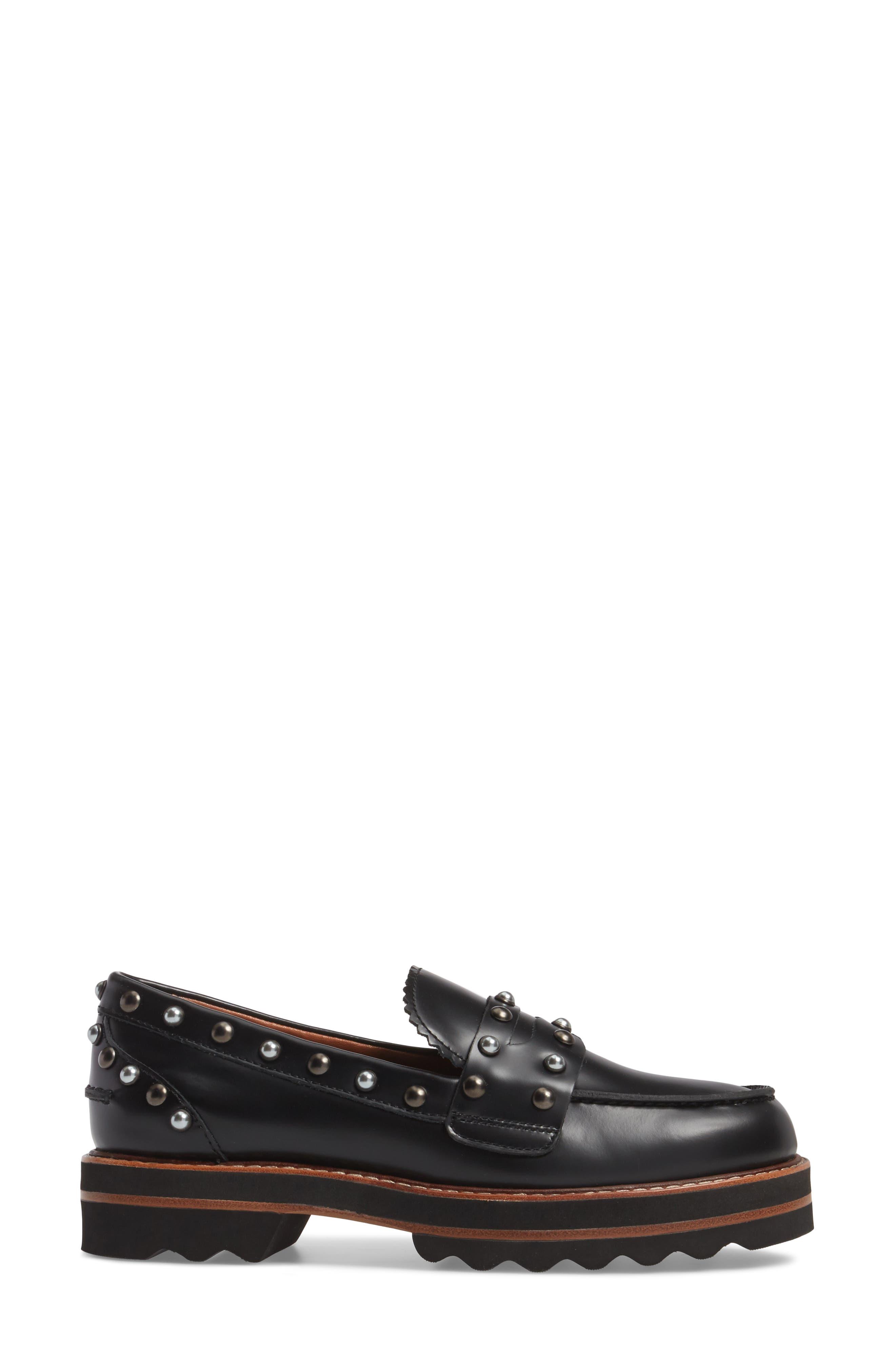 Lenox Loafer,                             Alternate thumbnail 3, color,                             Black Leather