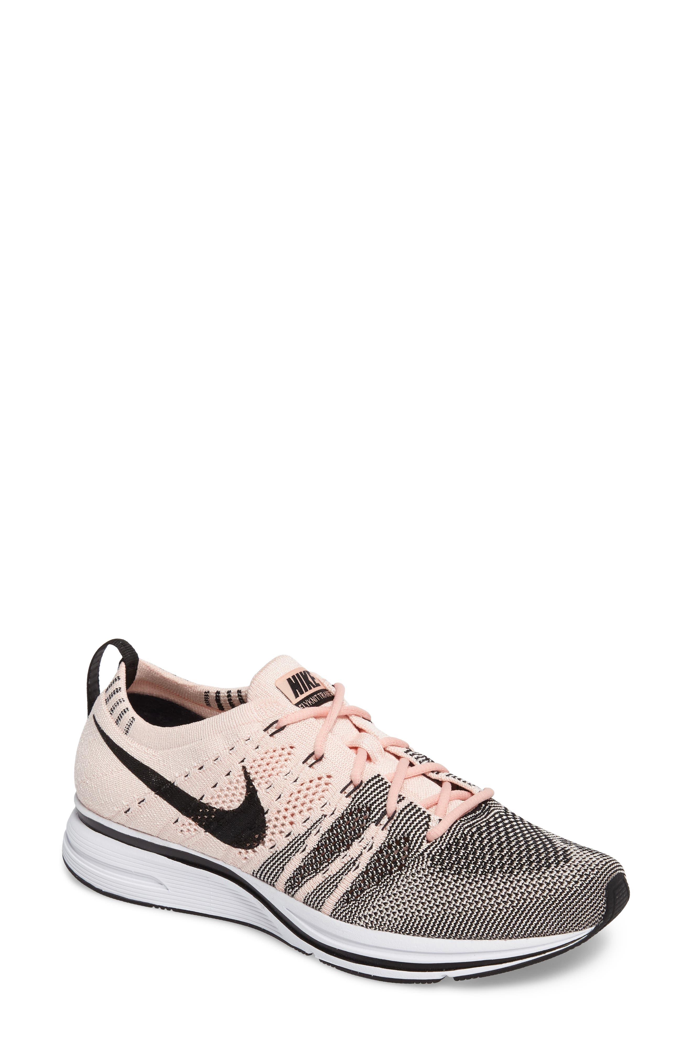 NikeLab Flyknit Trainer Sneaker,                             Main thumbnail 1, color,                             Sunset Tint/Black-White