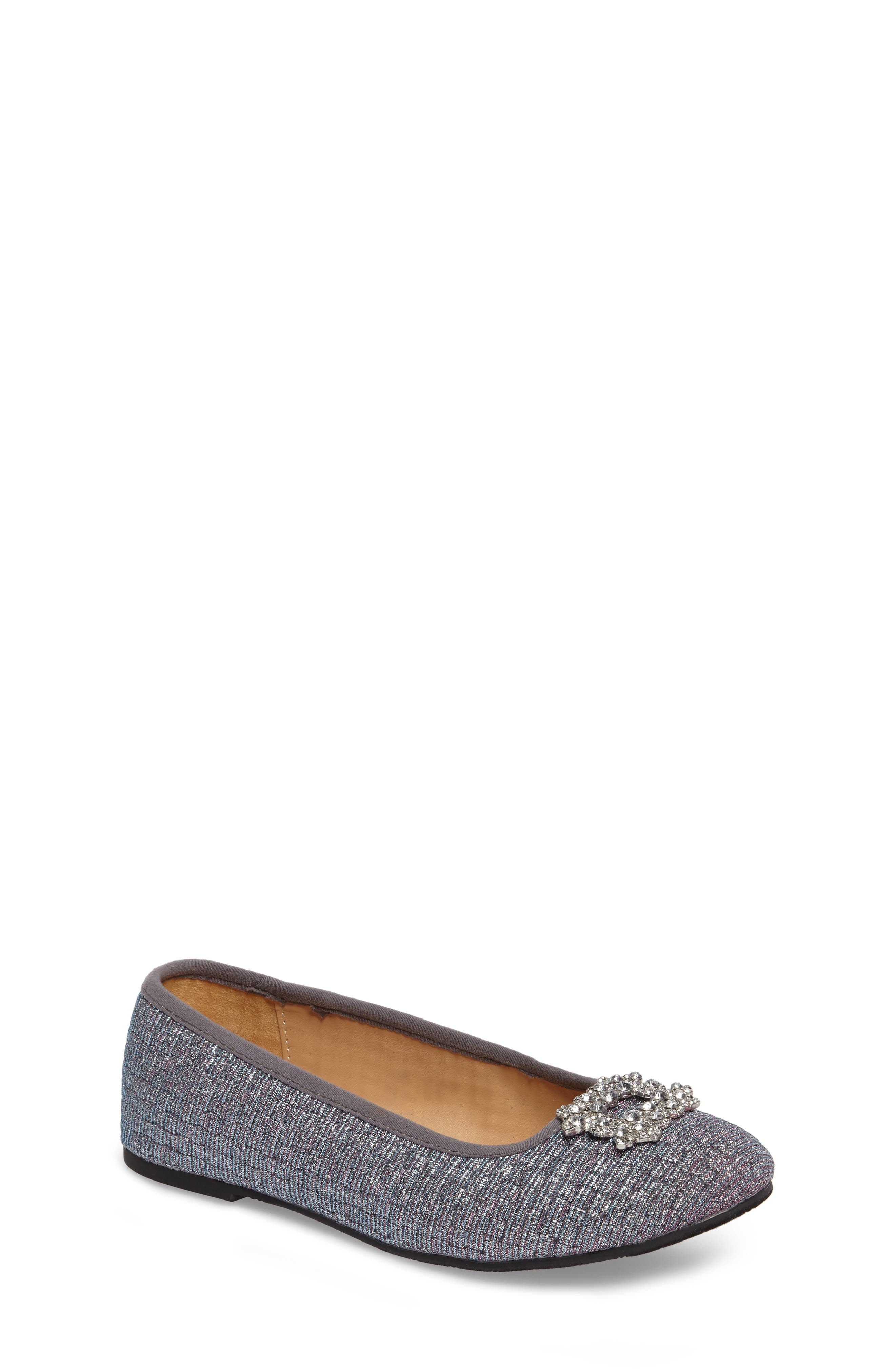 Main Image - Badgley Mischka Amber Nidia Embellished Glitter Flat (Toddler, Little Kid & Big Kid)