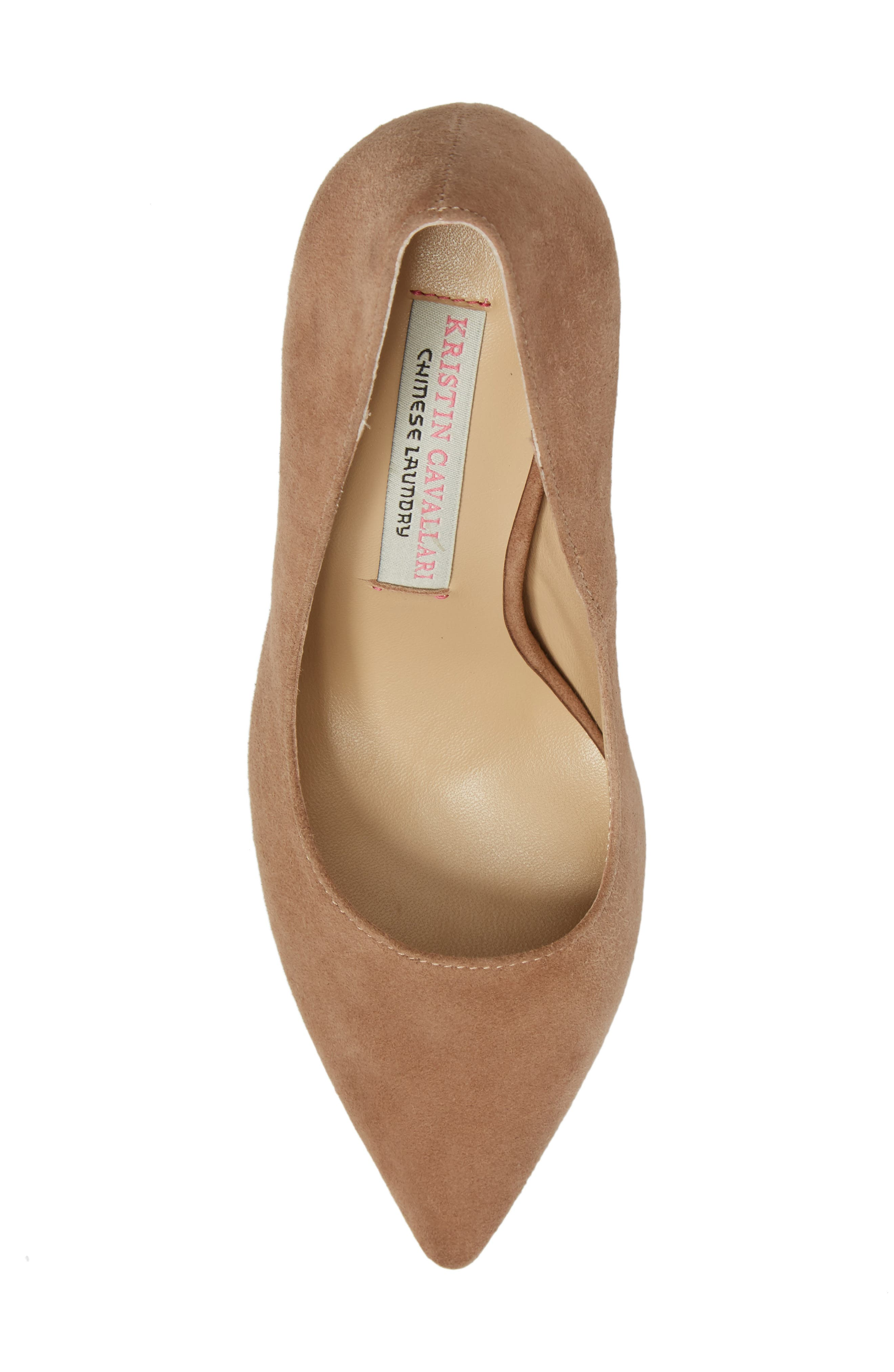 Gisele Pointy Toe Pump,                             Alternate thumbnail 5, color,                             Clay Suede
