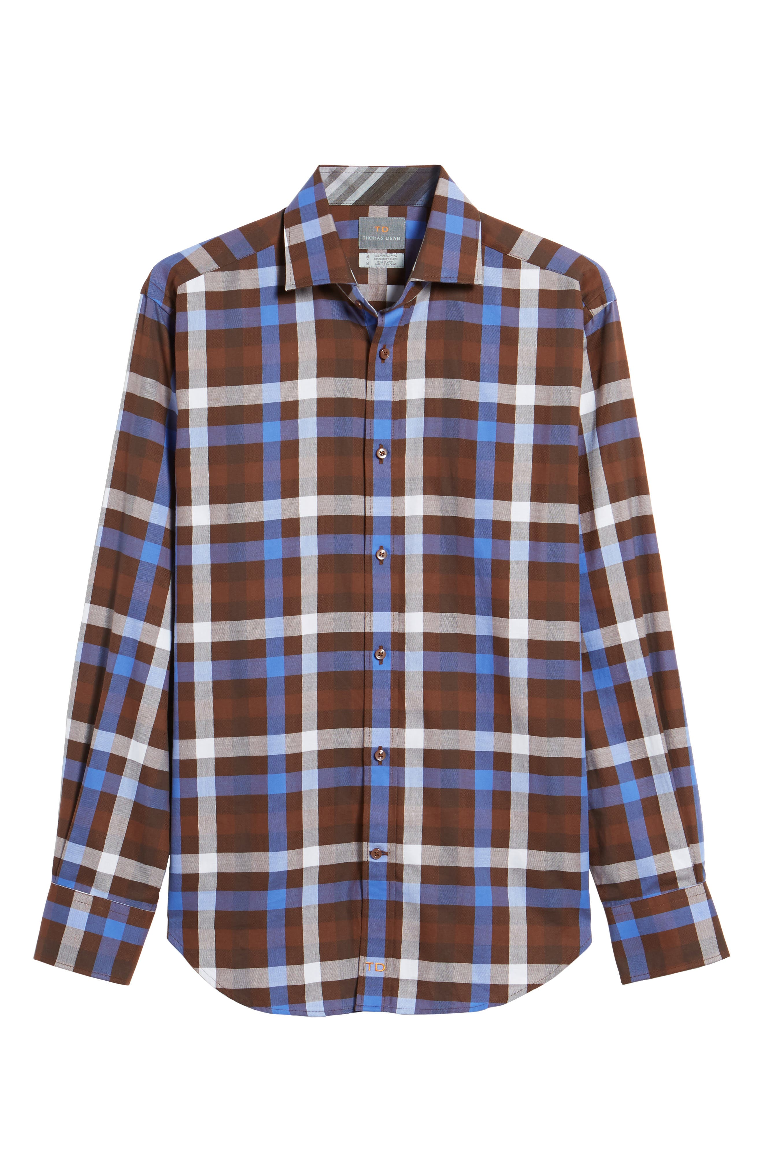 Regular Fit Dobby Check Sport Shirt,                             Alternate thumbnail 6, color,                             Brown