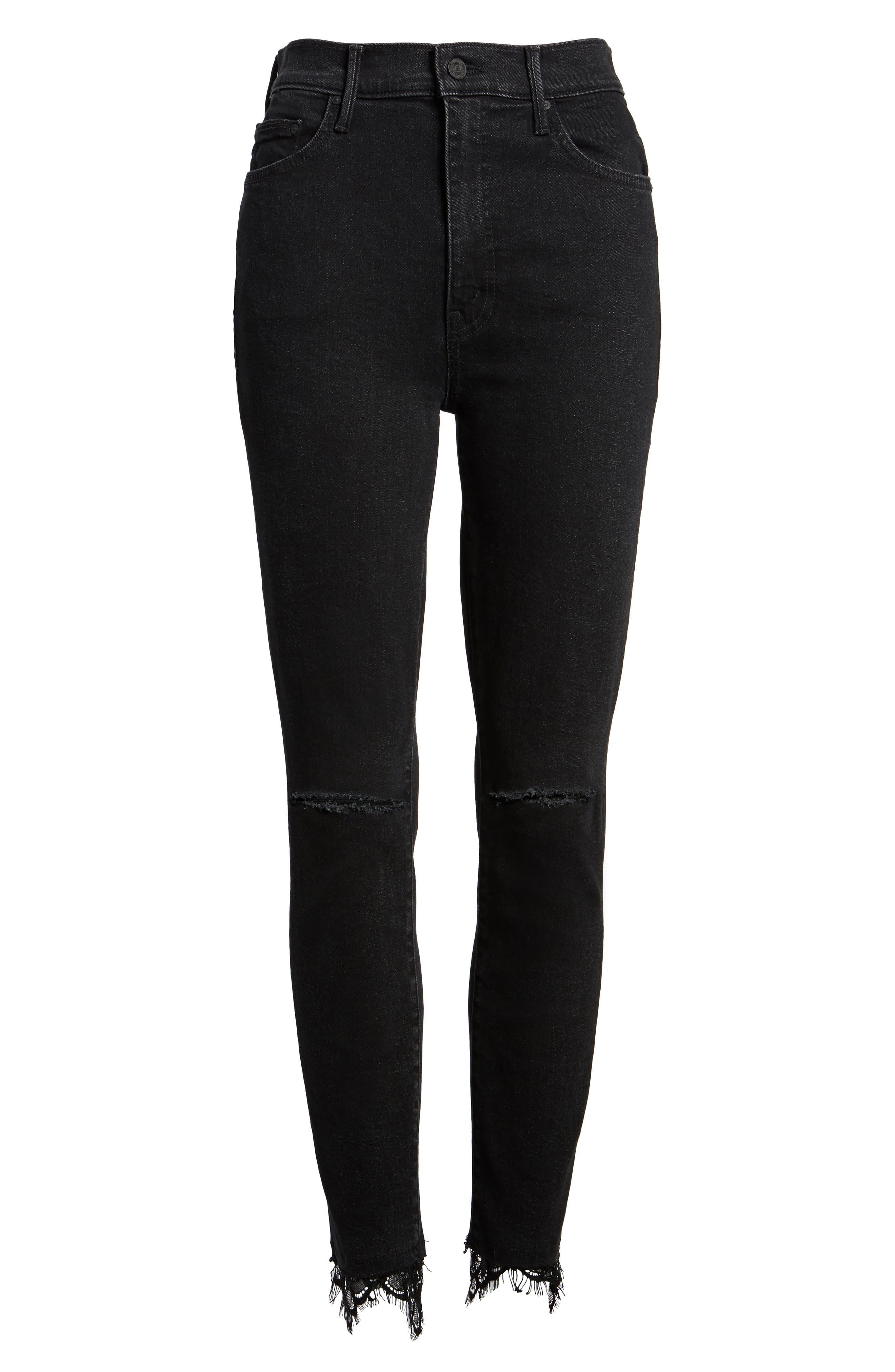 Swooner Dagger Ankle Skinny Jeans,                             Alternate thumbnail 6, color,                             Baa Baa Black Sheep