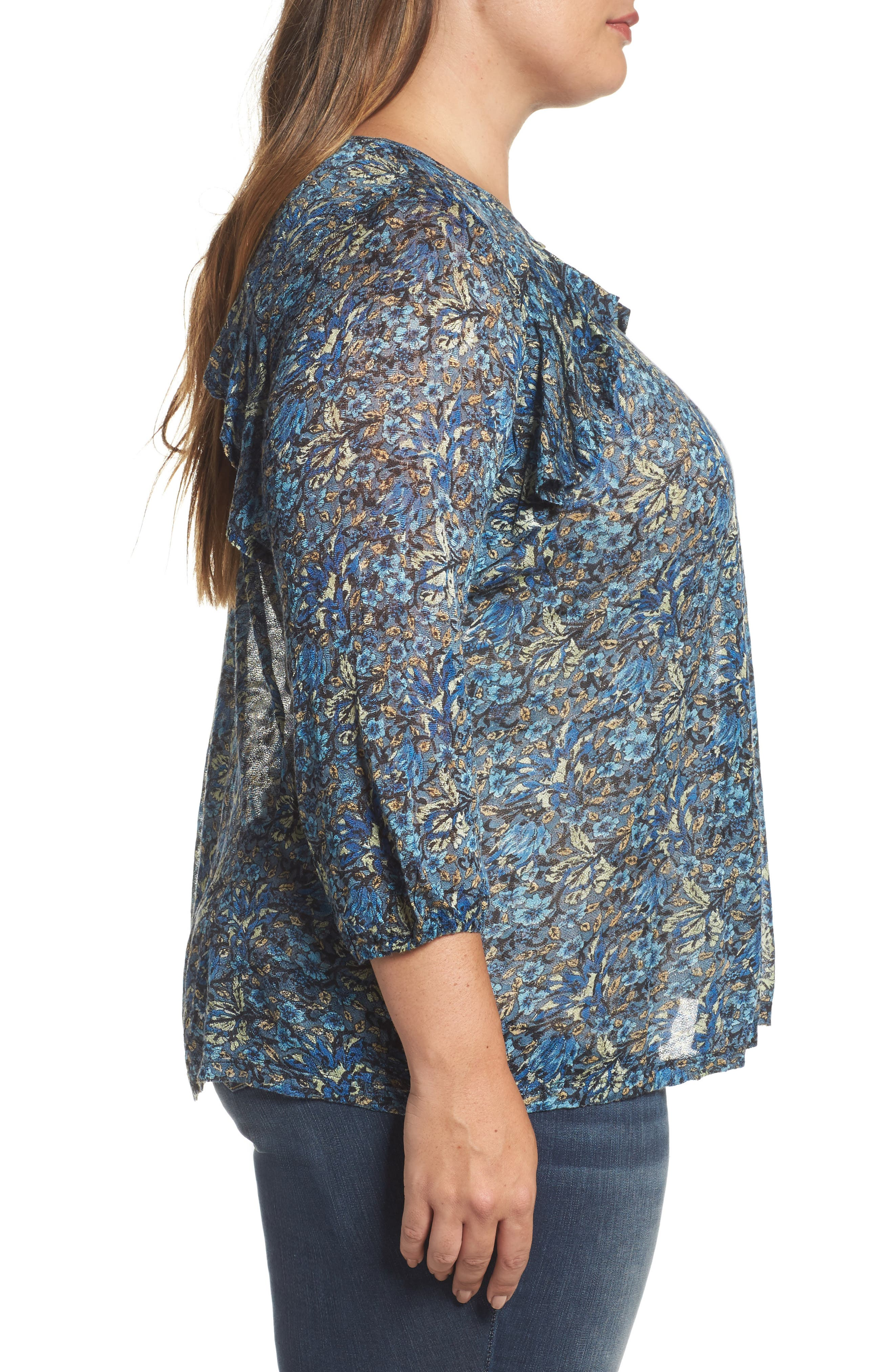 Alternate Image 3  - Lucky Brand Ruffle Trim Floral Top (Plus Size)
