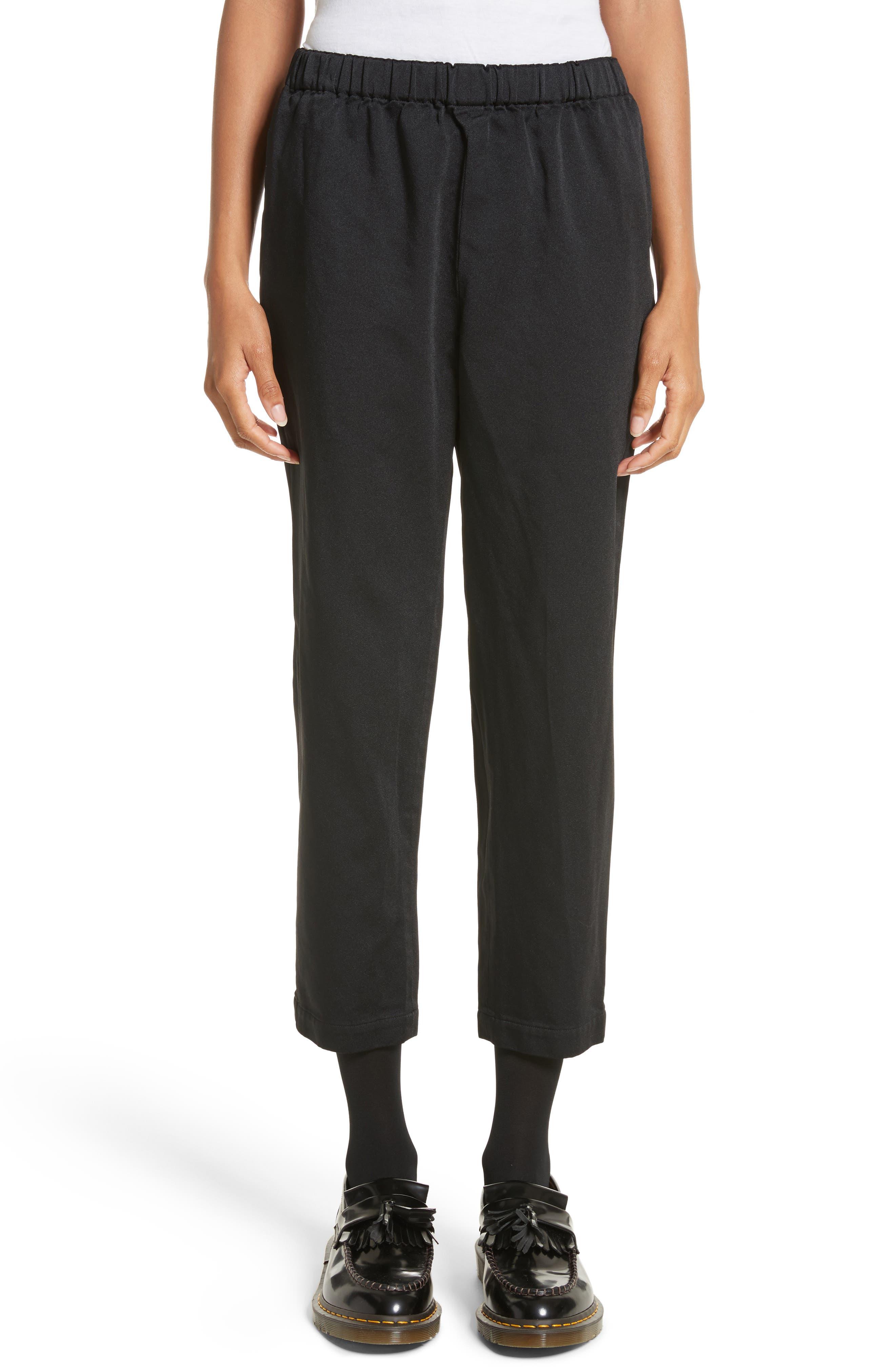 Satin Drawstring Pants,                         Main,                         color, Black