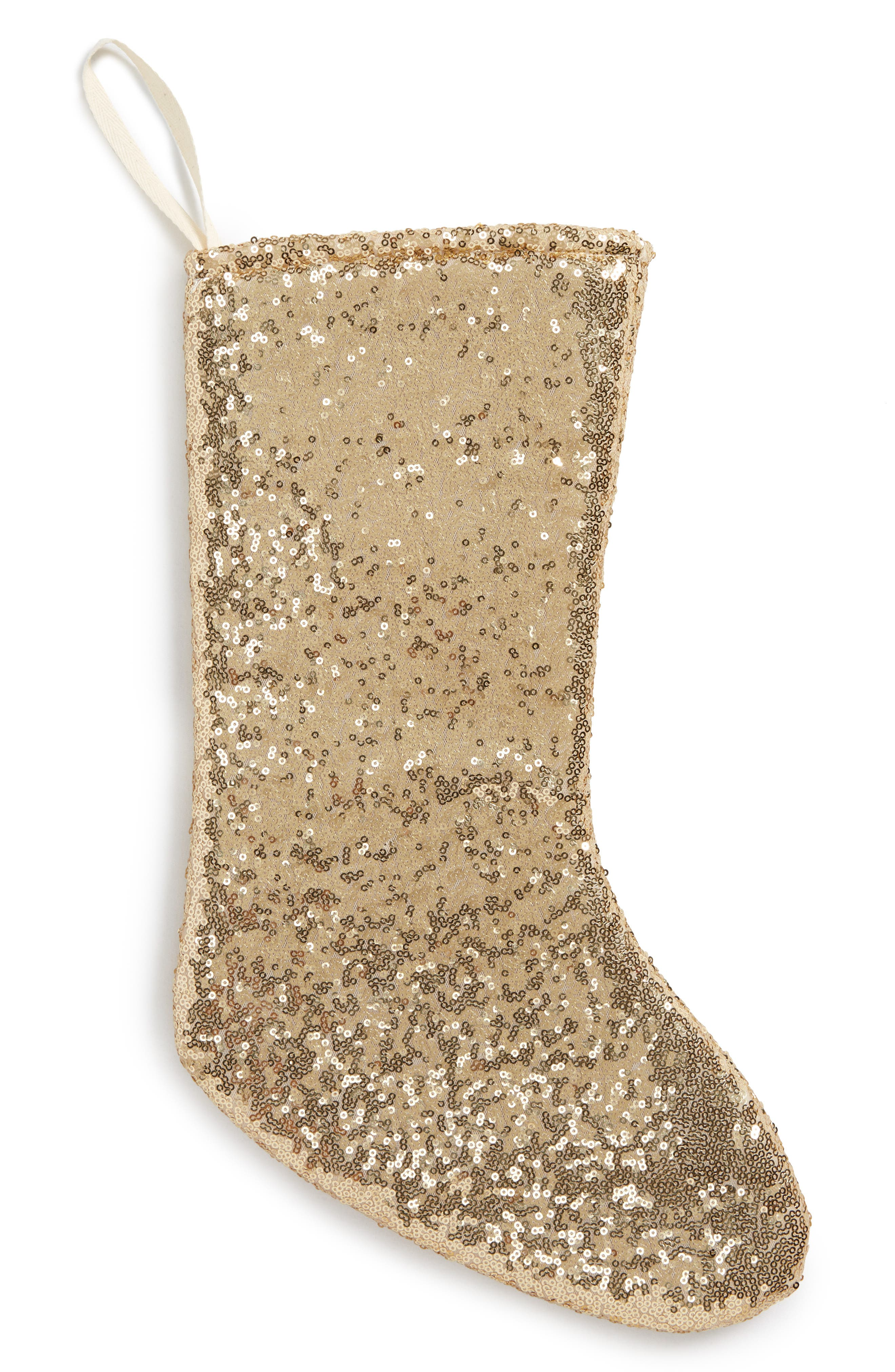 Sequin Stocking,                             Main thumbnail 1, color,                             Gold