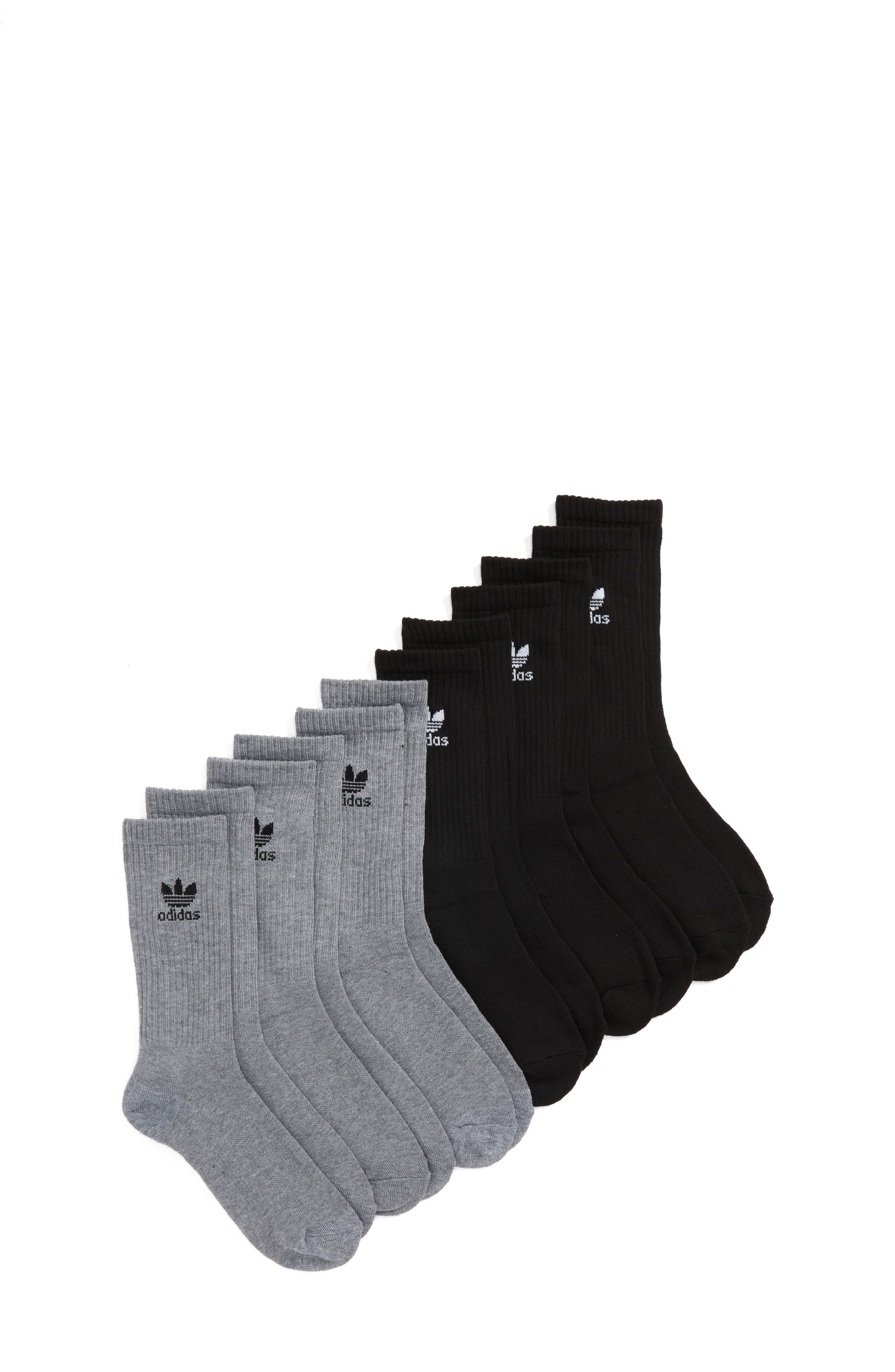 Main Image - adidas Trefoil 6-Pack Crew Socks (Big Kid)