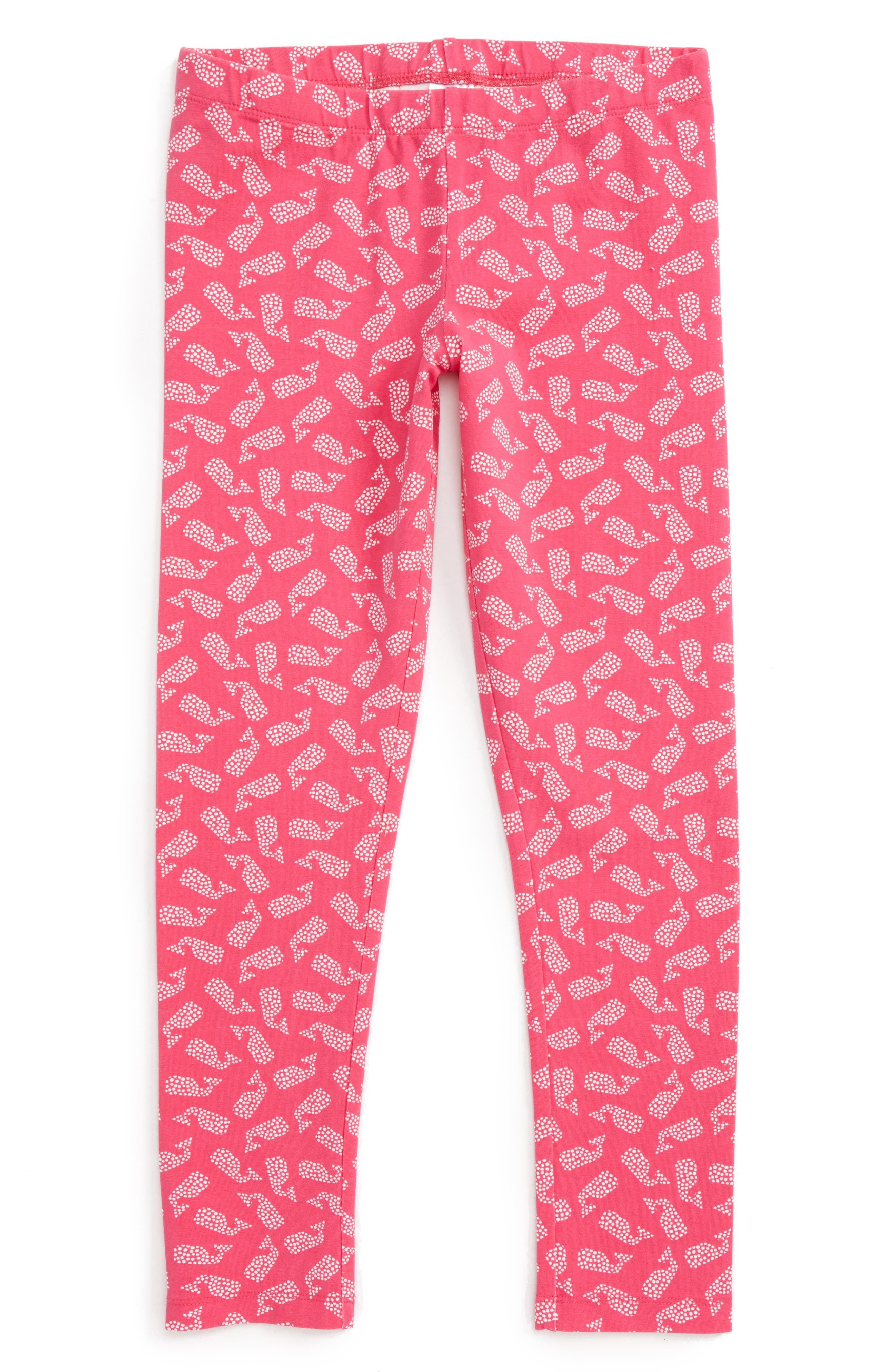 Polka Dot Whale Leggings,                         Main,                         color, Rhododendron