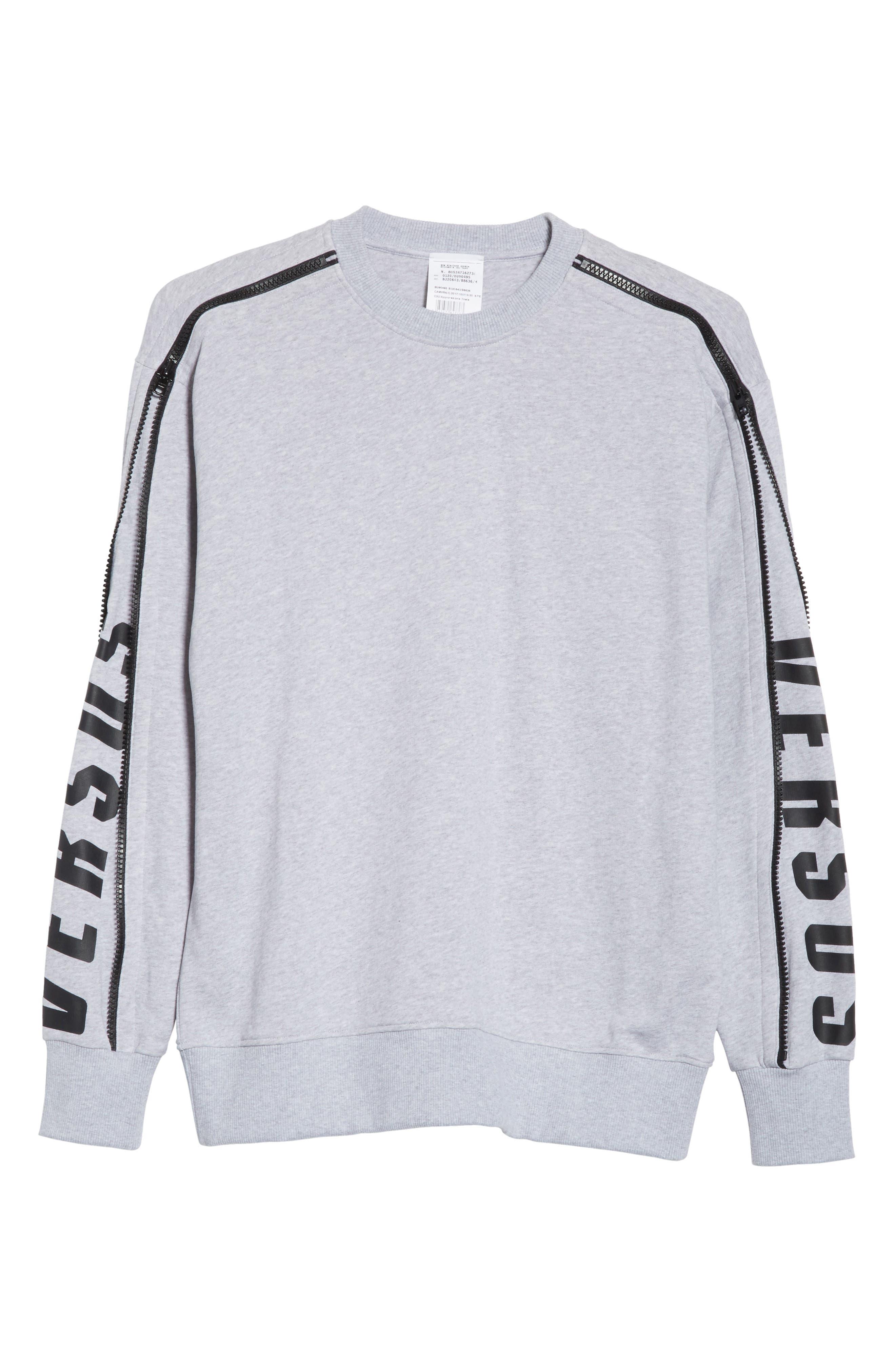 VERSUS by Versace Zip Sleeve Crewneck Sweatshirt,                             Alternate thumbnail 6, color,                             Grey