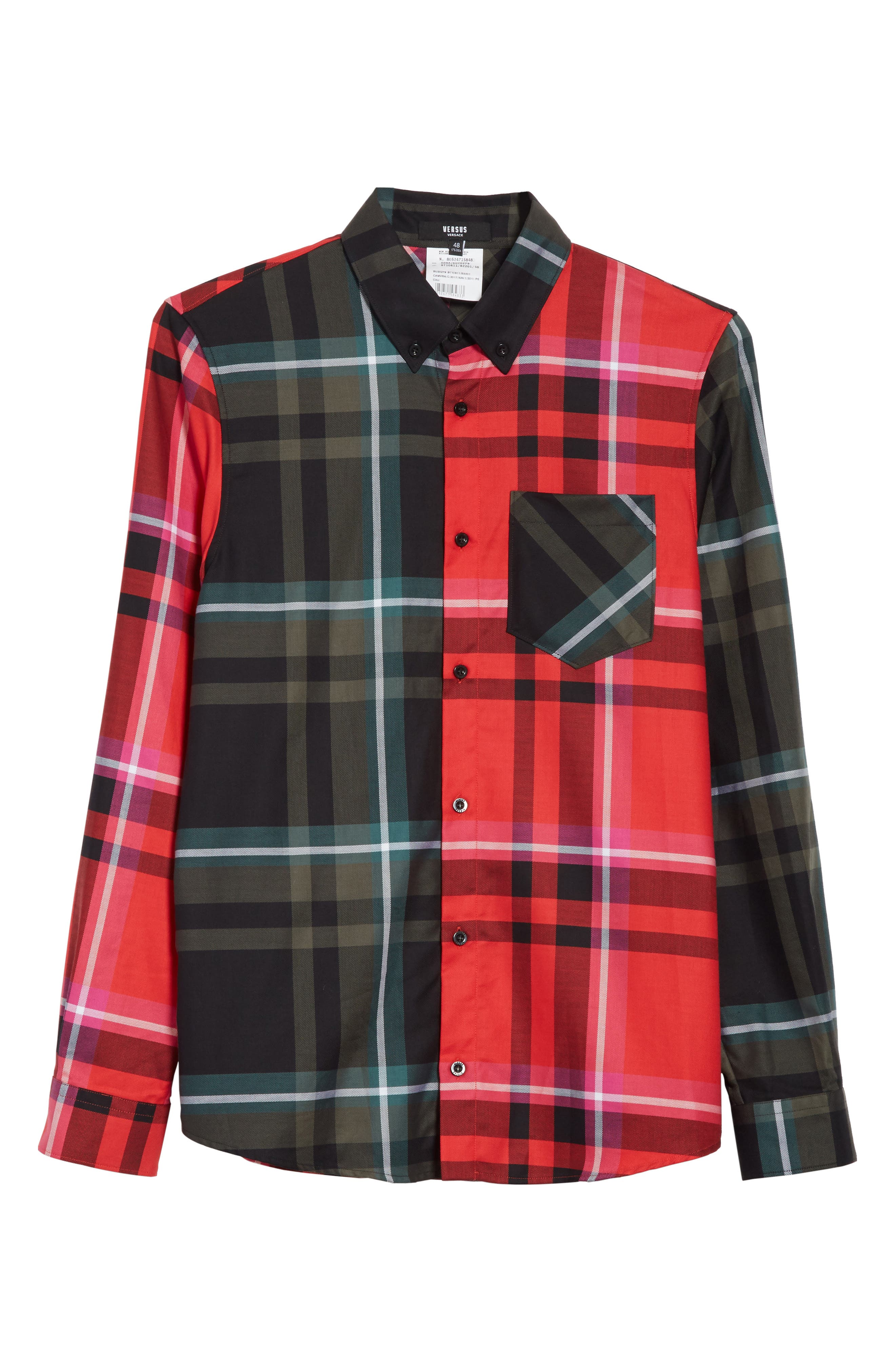 VERSUS by Versace Plaid Woven Shirt,                             Alternate thumbnail 6, color,                             Red Multi