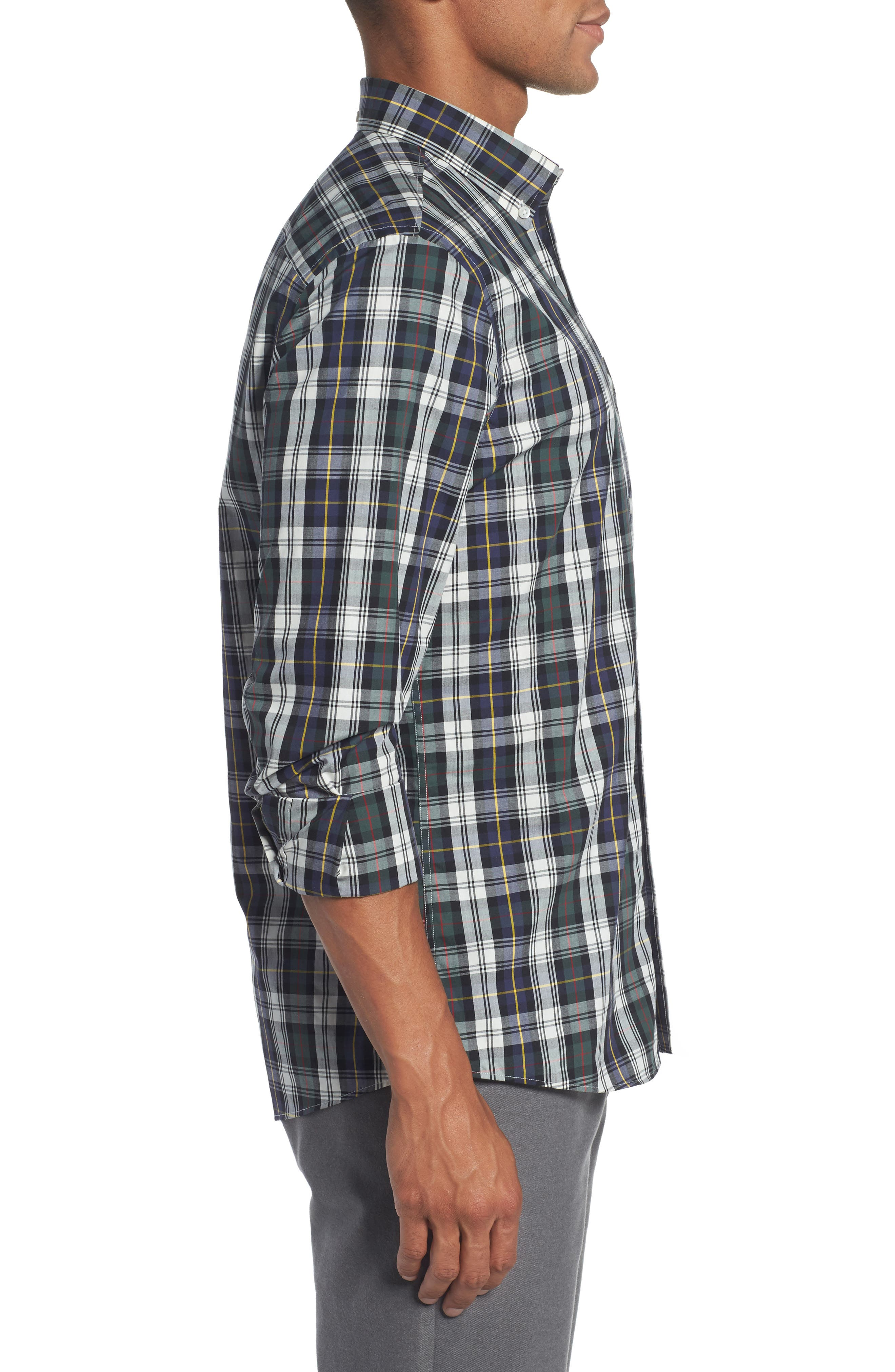 Trim Fit Non-Iron Plaid Sport Shirt,                             Alternate thumbnail 3, color,                             Ivory Egret Green Tartan