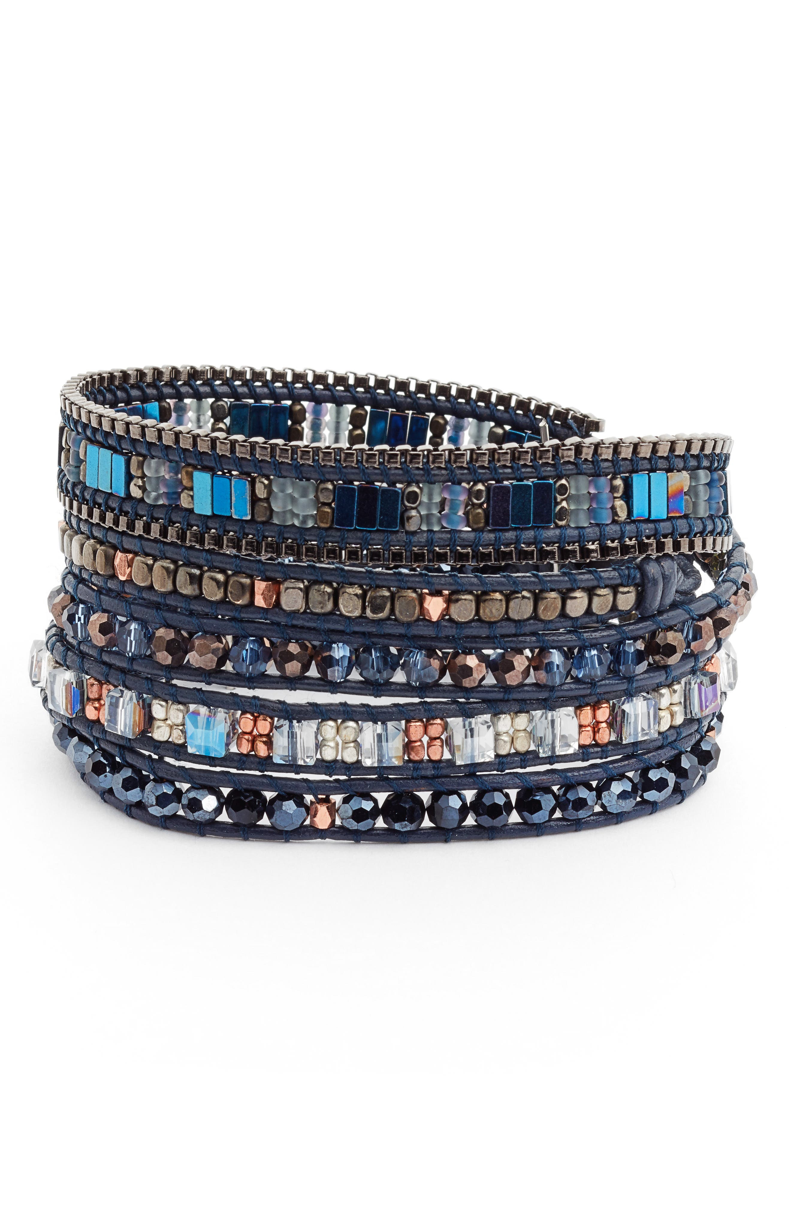 Leather, Lapis & Crystal Wrap Bracelet,                         Main,                         color, Blue