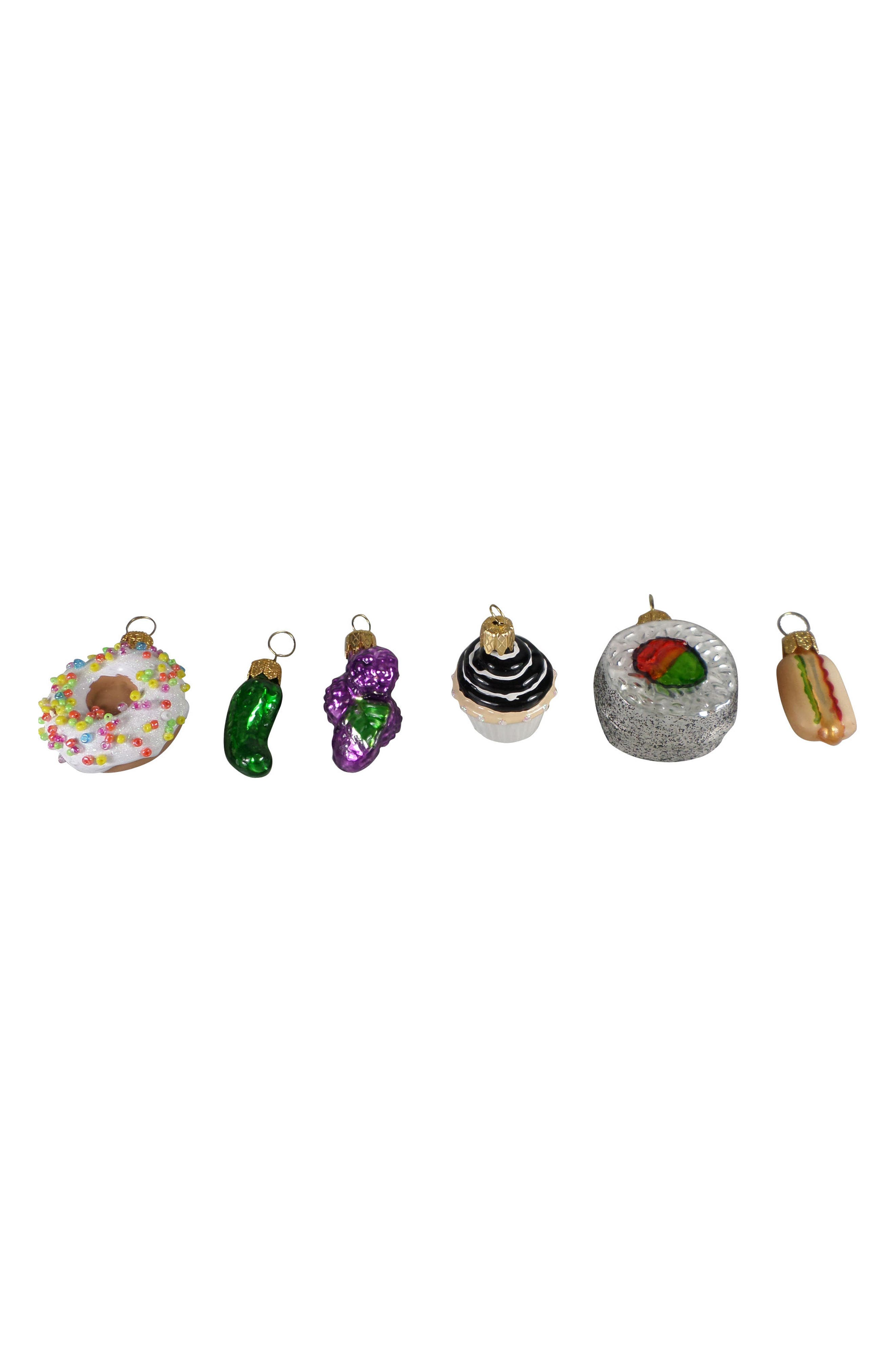 Nordstrom at Home Set of 6 Mini Handblown Glass Food Ornaments