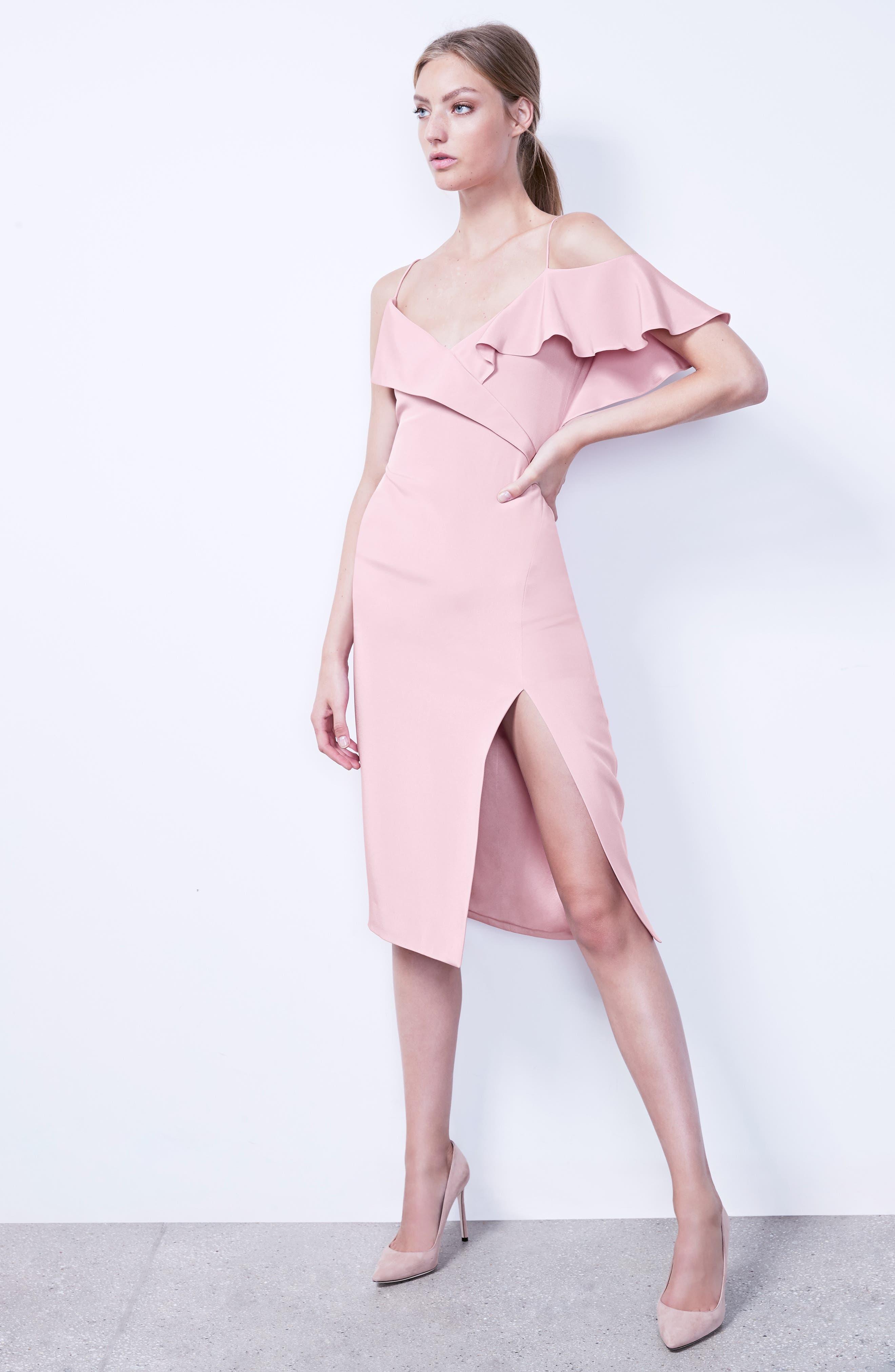 Asymmetrical Ruffle Silk Dress,                             Alternate thumbnail 2, color,                             Quartz