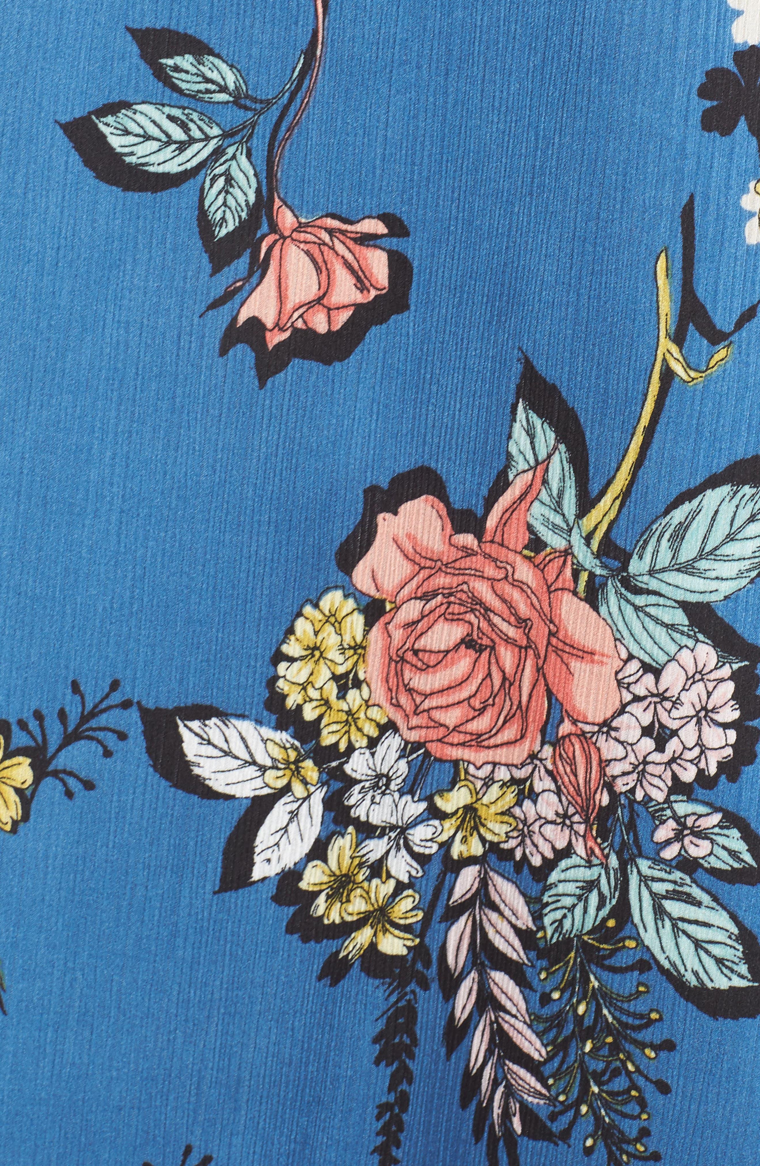 Off the Shoulder Ruffle Dress,                             Alternate thumbnail 5, color,                             Charcoal Flower Blue