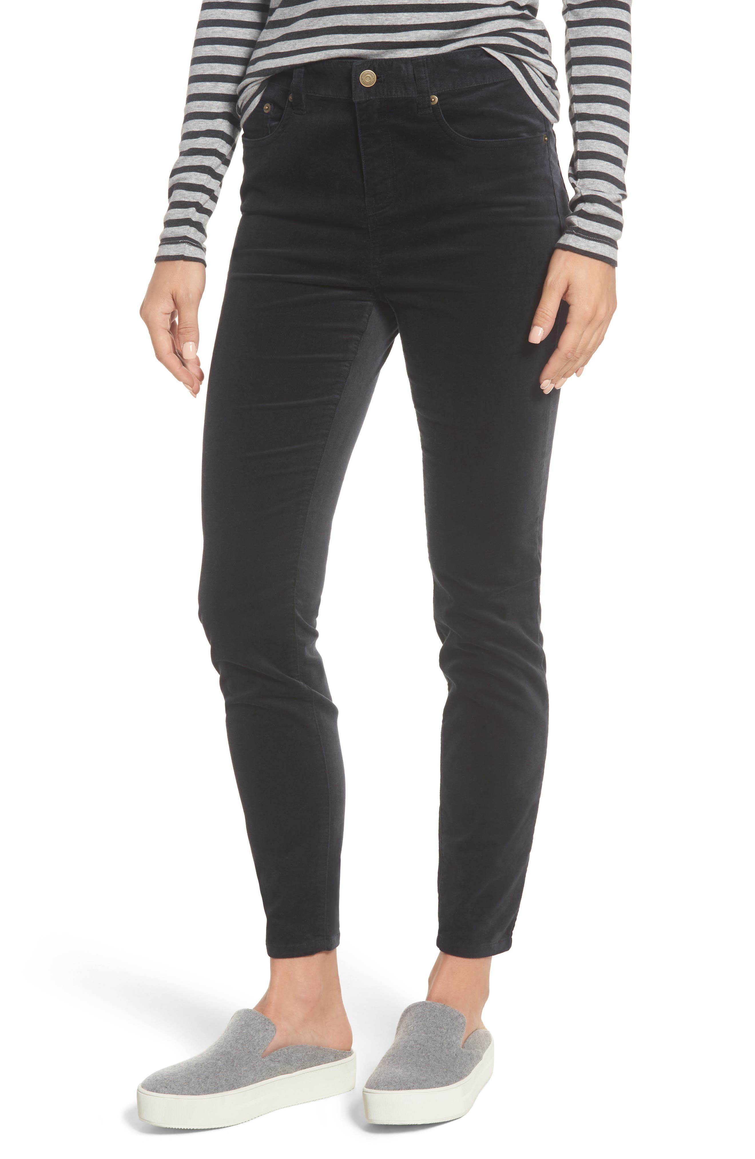 Velvet Skinny Jeans,                             Main thumbnail 1, color,                             Jet Black
