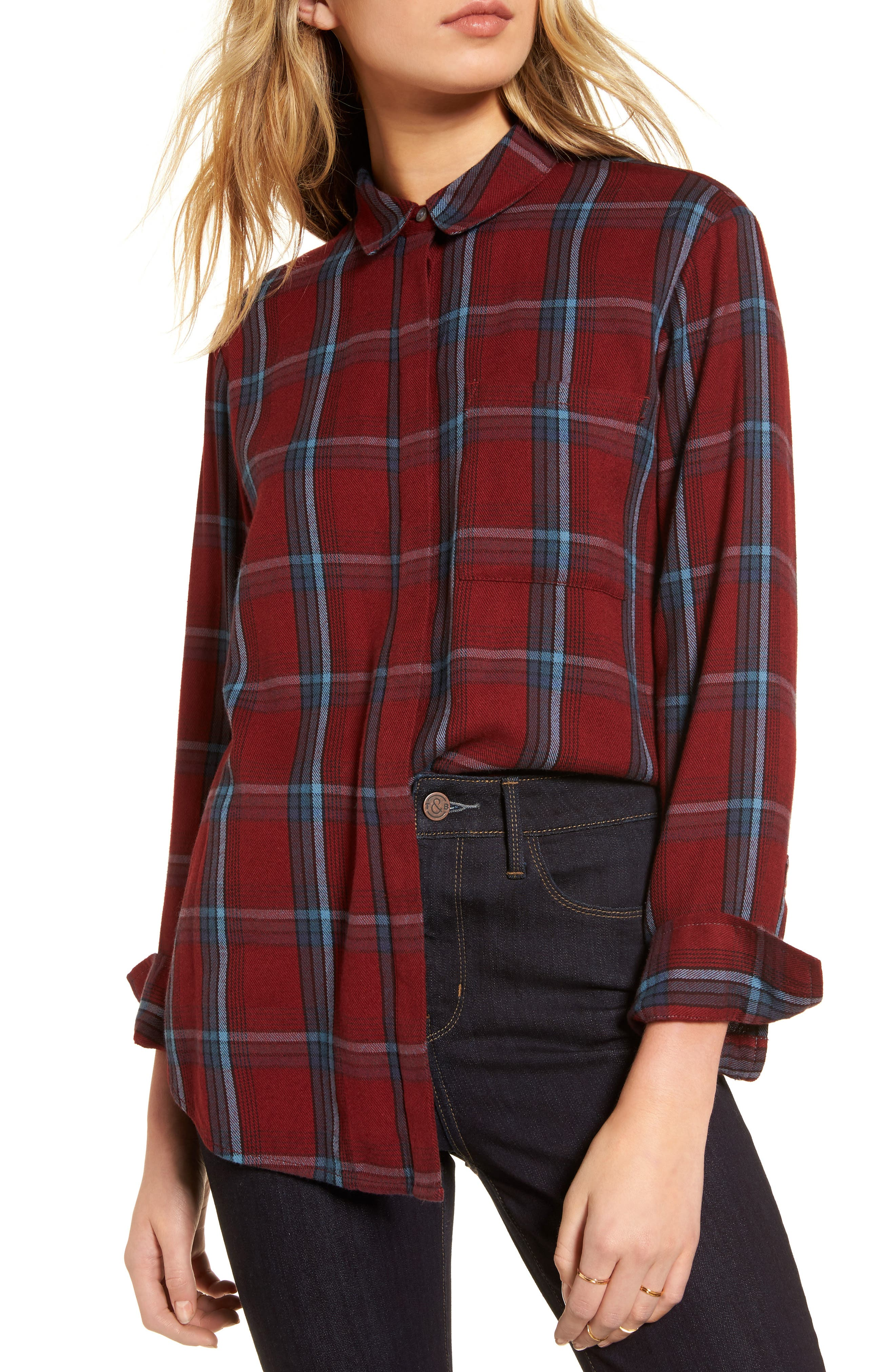 Ruffle Plaid Boyfriend Shirt,                             Main thumbnail 1, color,                             Red Syrah Three Box Tartan