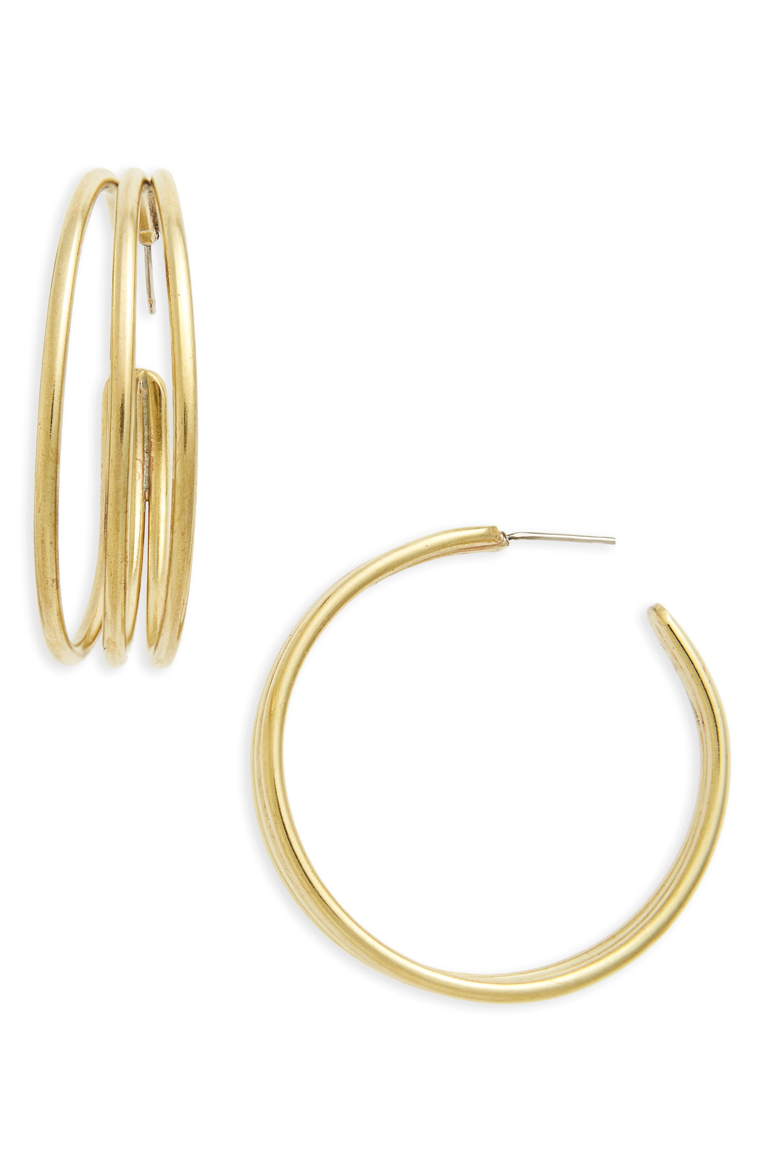 Triple Band Hoop Earrings,                         Main,                         color, Brass
