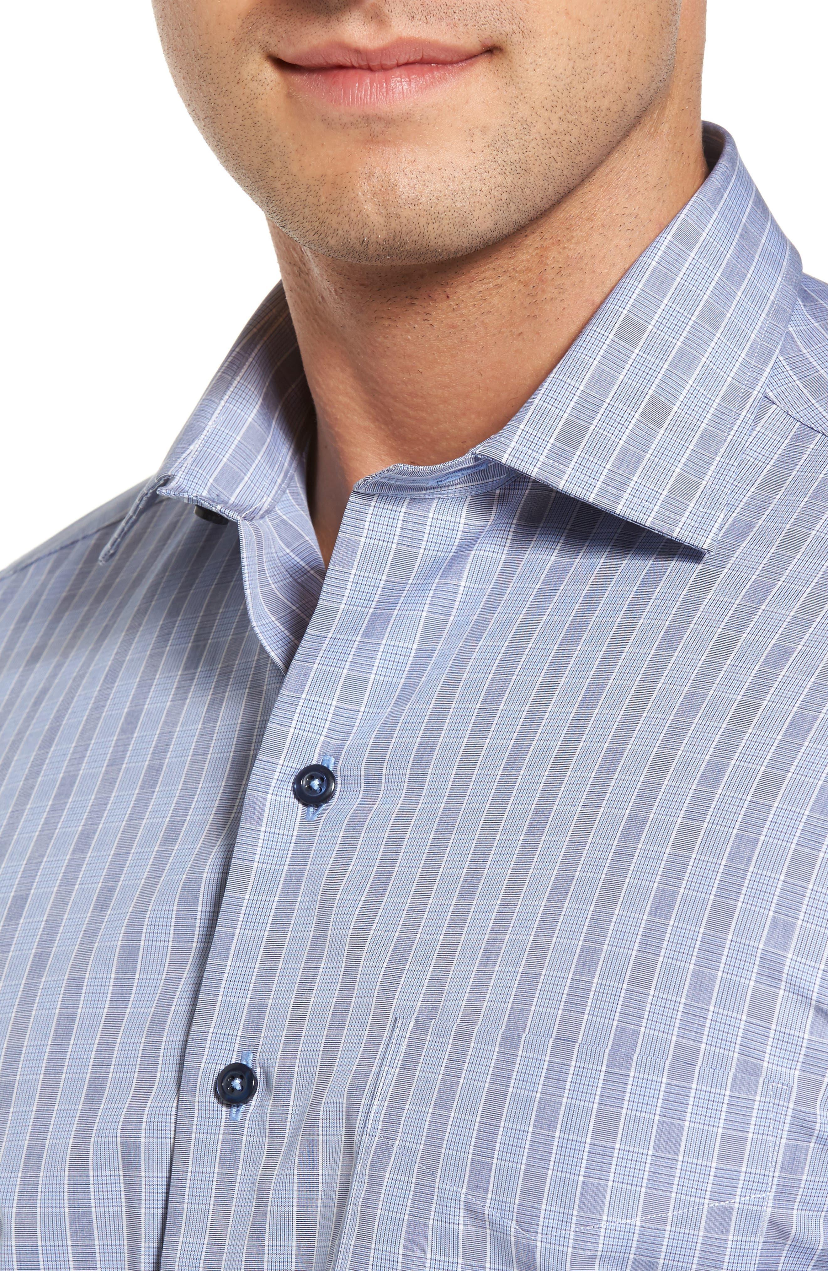 Regular Fit Plaid Sport Shirt,                             Alternate thumbnail 4, color,                             Navy/ Sky