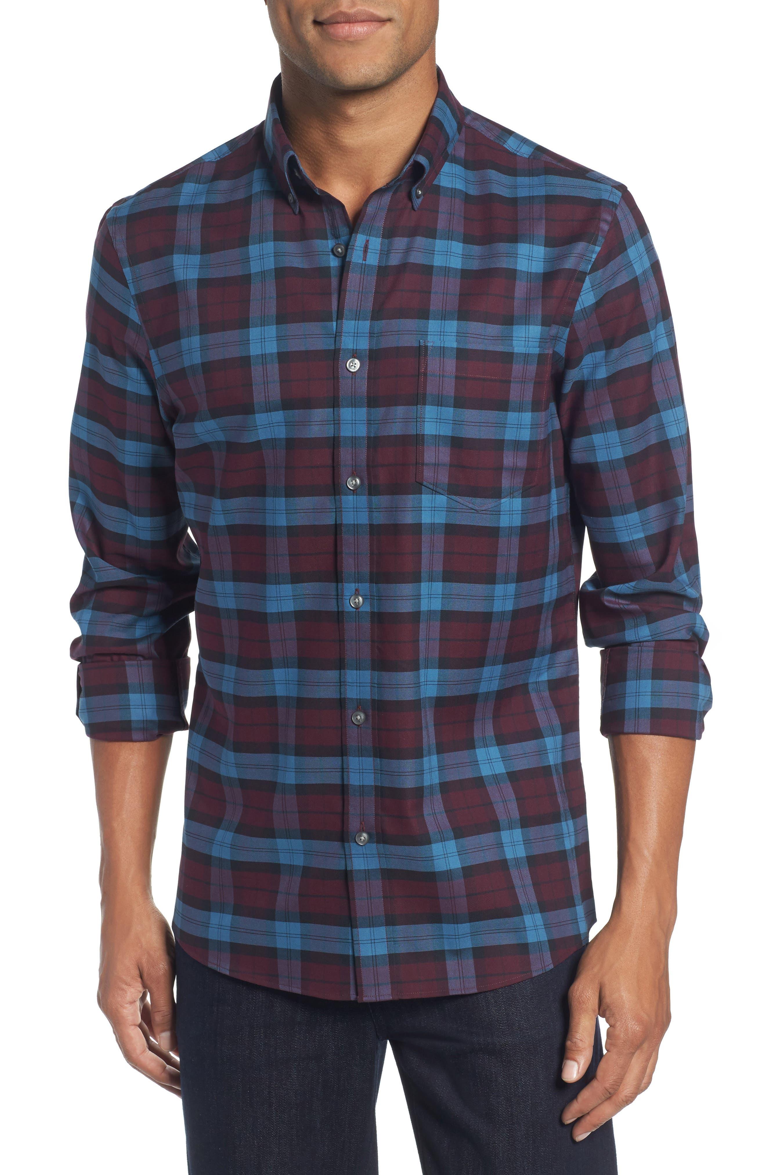 Tech-Smart Slim Fit Plaid Sport Shirt,                         Main,                         color, Burgundy/ Black