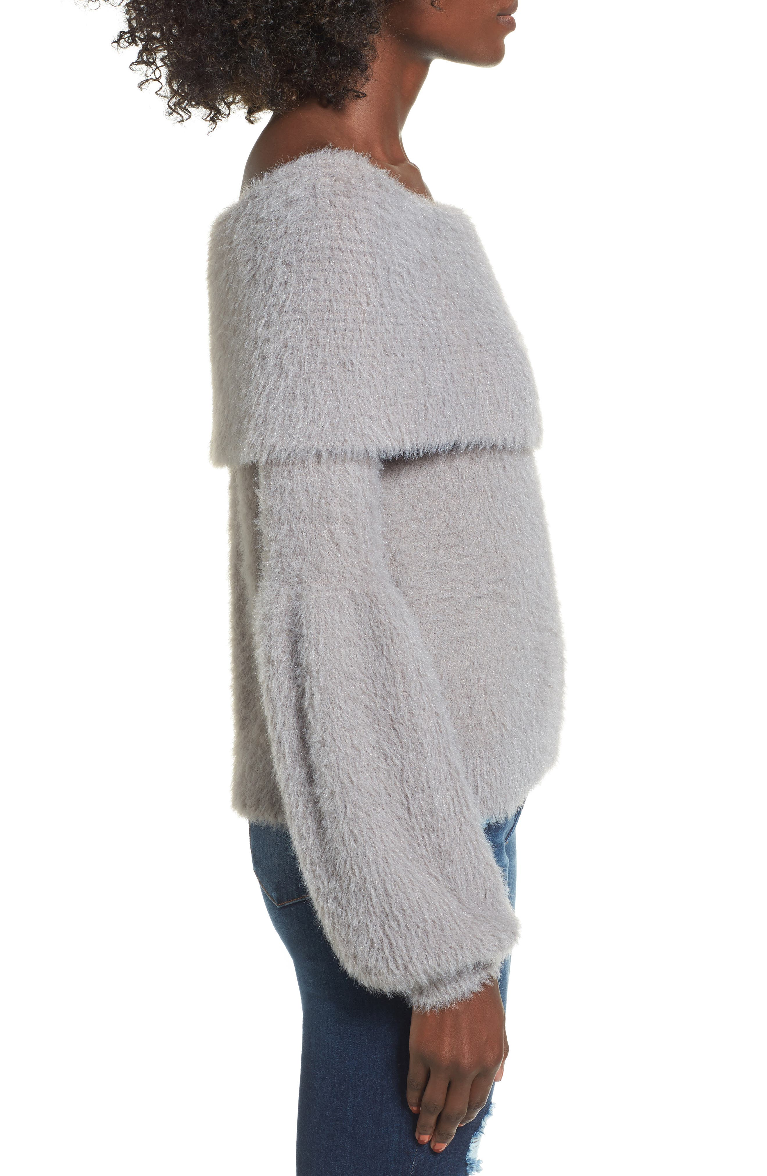 Off the Shoulder Sweater,                             Alternate thumbnail 3, color,                             Grey Cloudburst