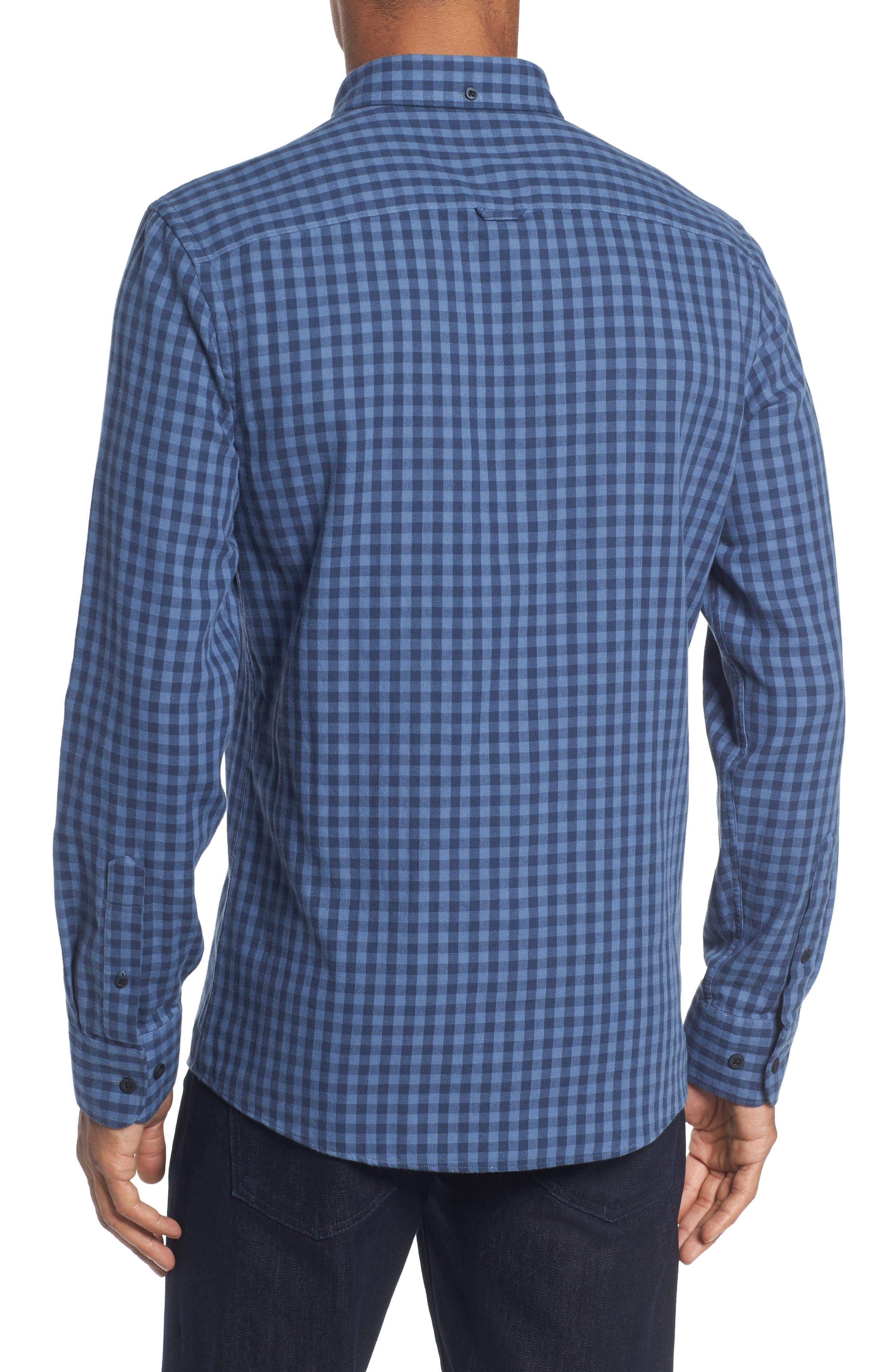 Trim Fit Duofold Check Sport Shirt,                             Alternate thumbnail 2, color,                             Blue Canal Navy Plaid Duofold