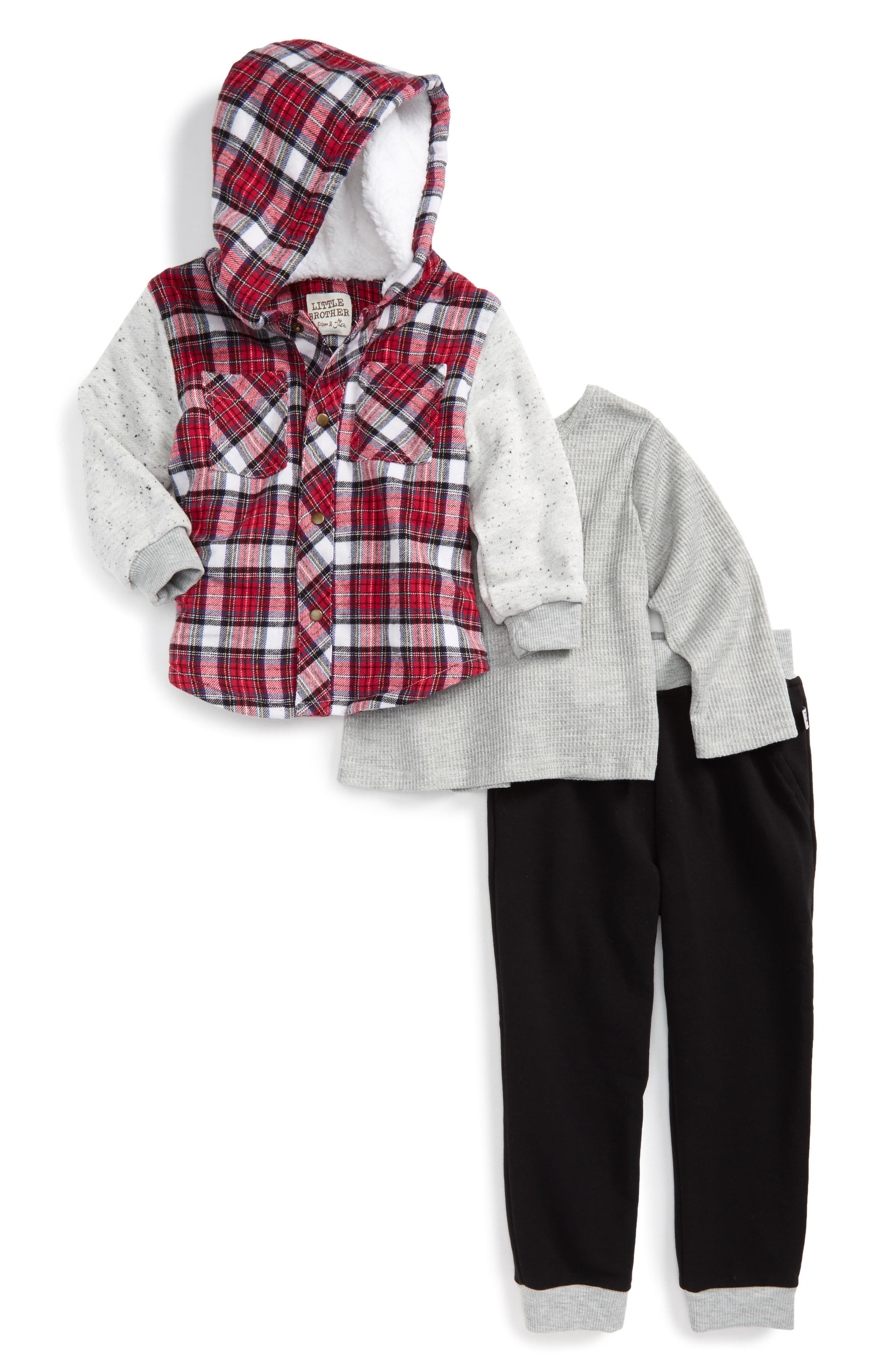 Main Image - Little Brother by Pippa & Julie Thermal Tee, Hoodie & Sweatpants (Toddler Boys)