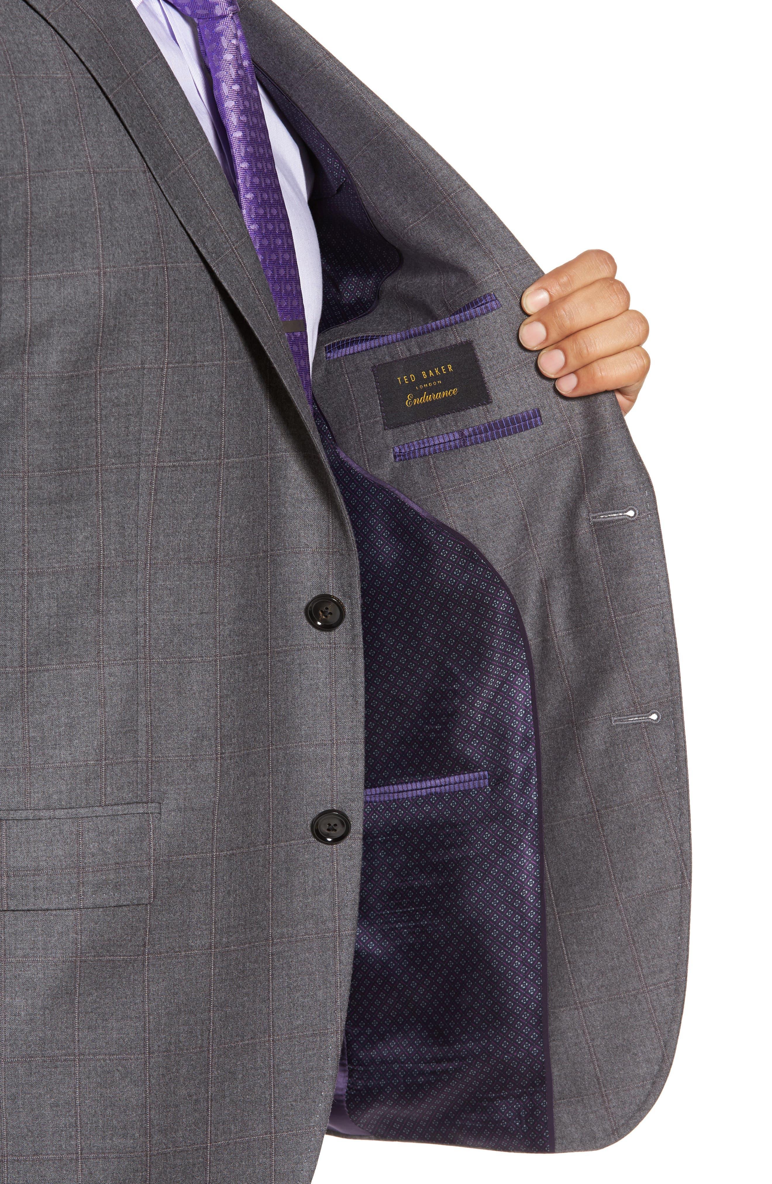 Alternate Image 4  - Ted Baker London Trim Fit Windowpane Wool Suit