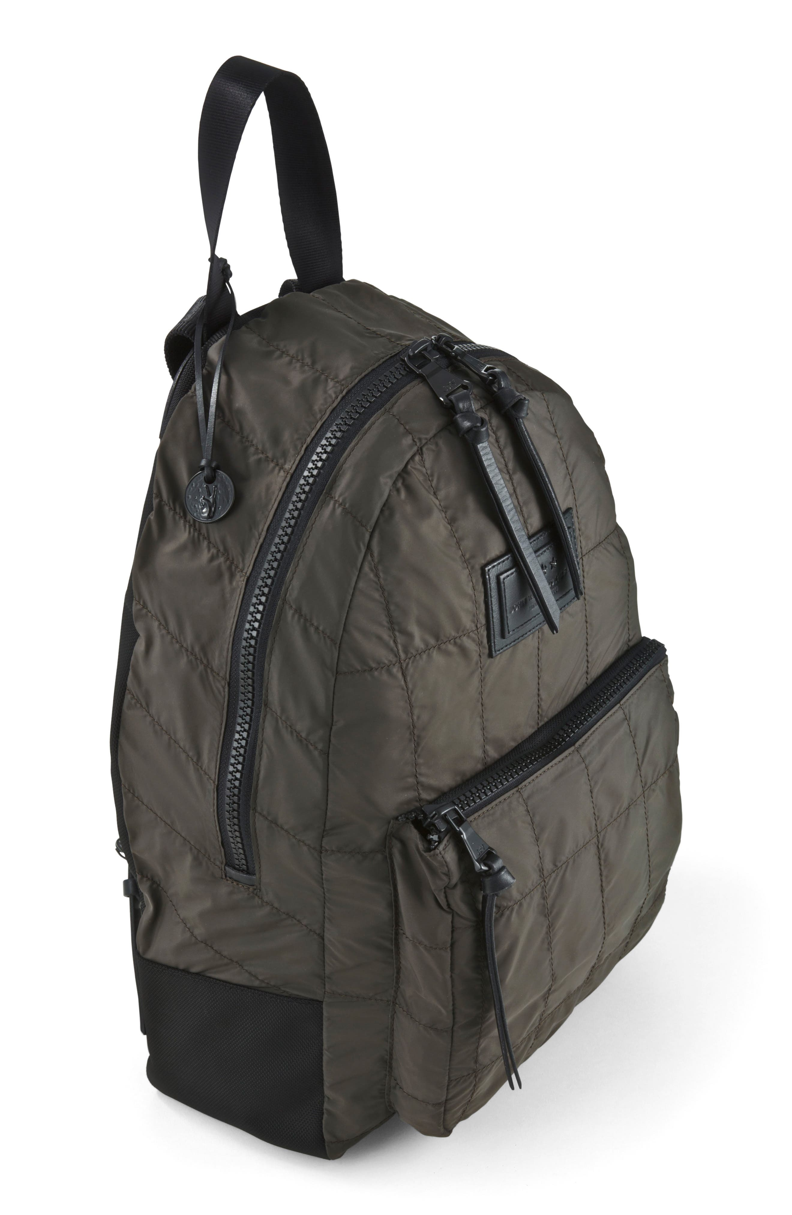 Quilted Nylon Backpack,                             Alternate thumbnail 4, color,                             Army Green