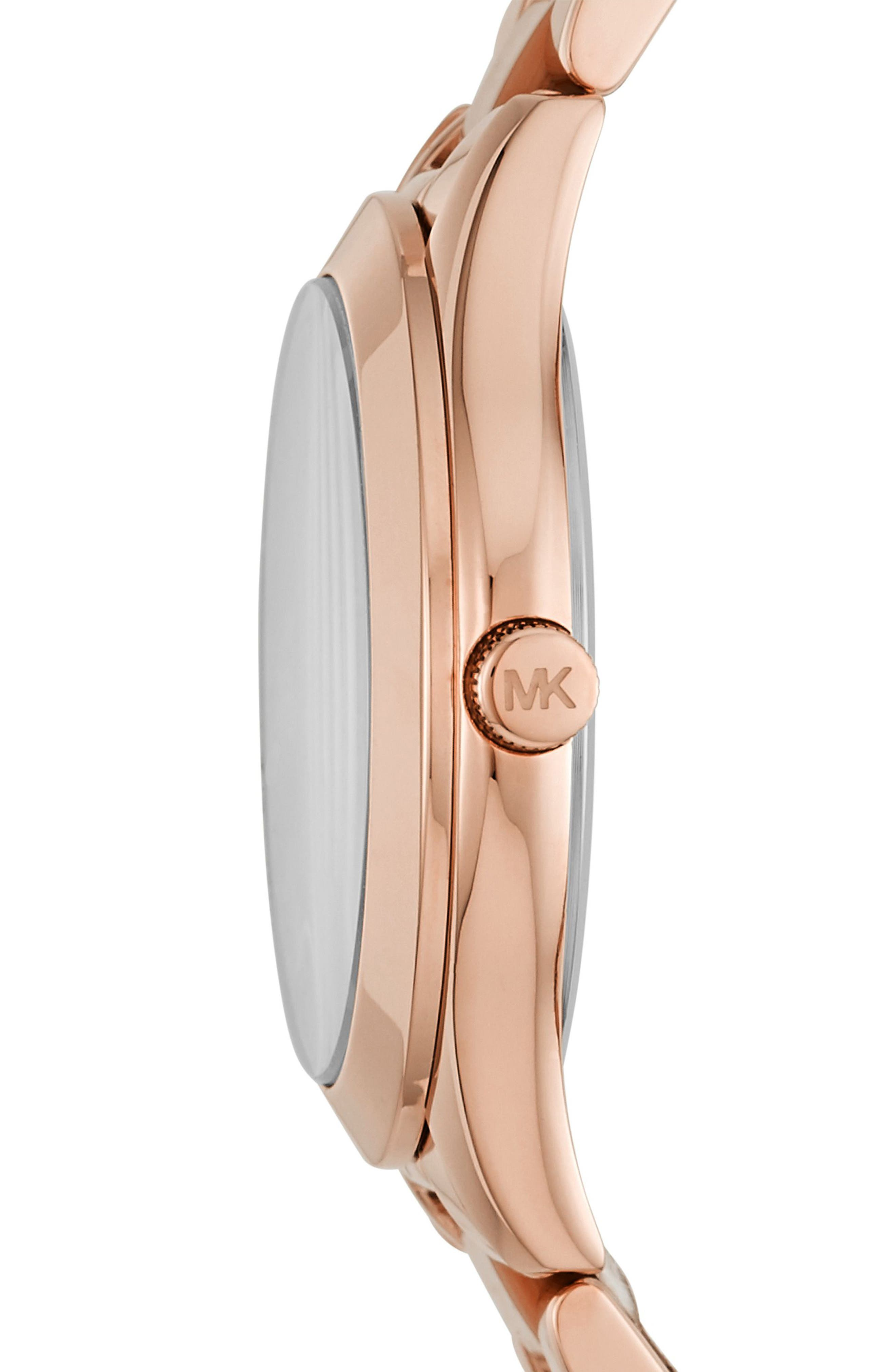 Mini Slim Runway Bracelet Watch, 33mm,                             Alternate thumbnail 2, color,                             Rose Gold