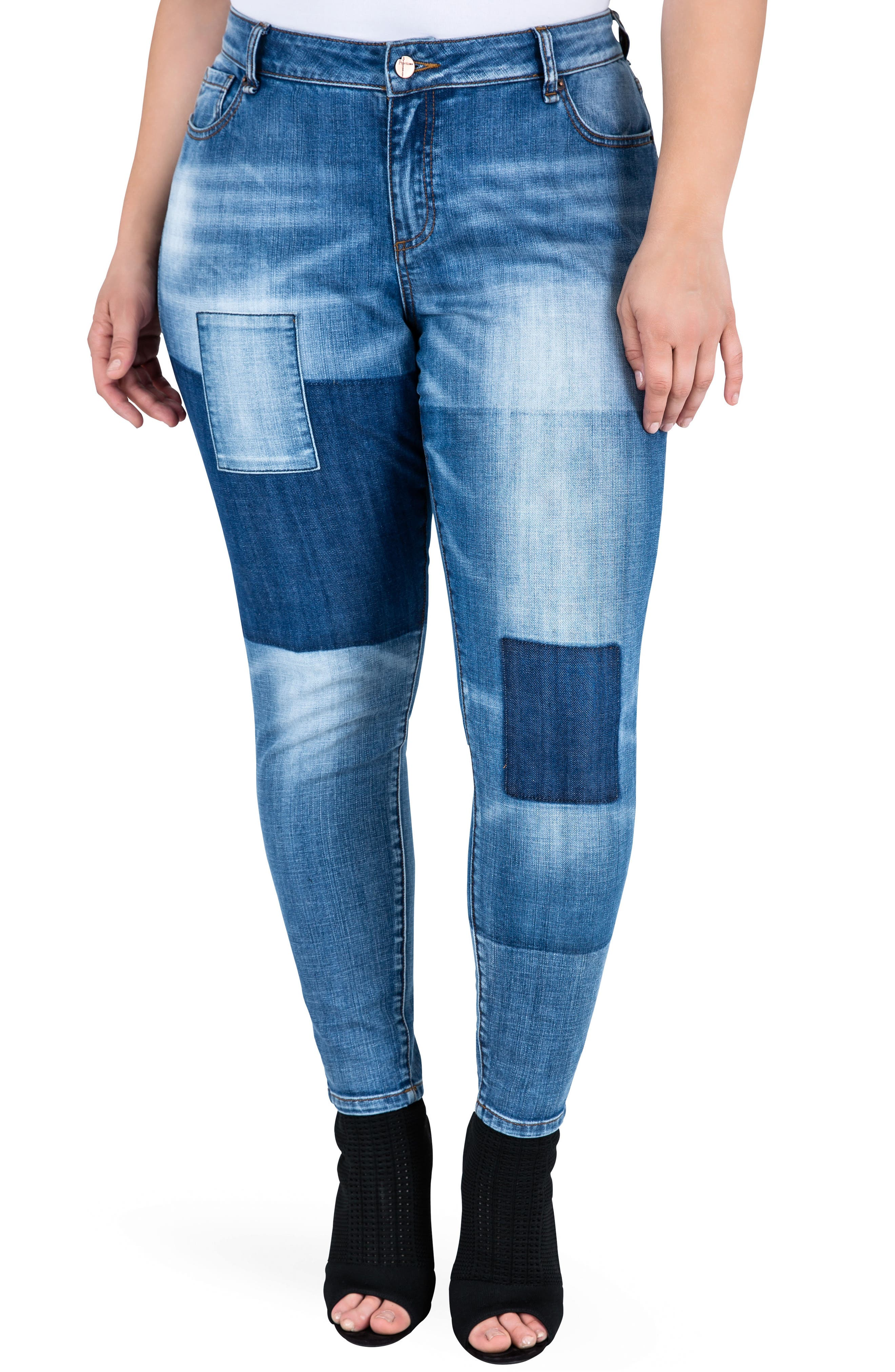 Isabel Colorblock Skinny Jeans,                         Main,                         color, Periwinkle