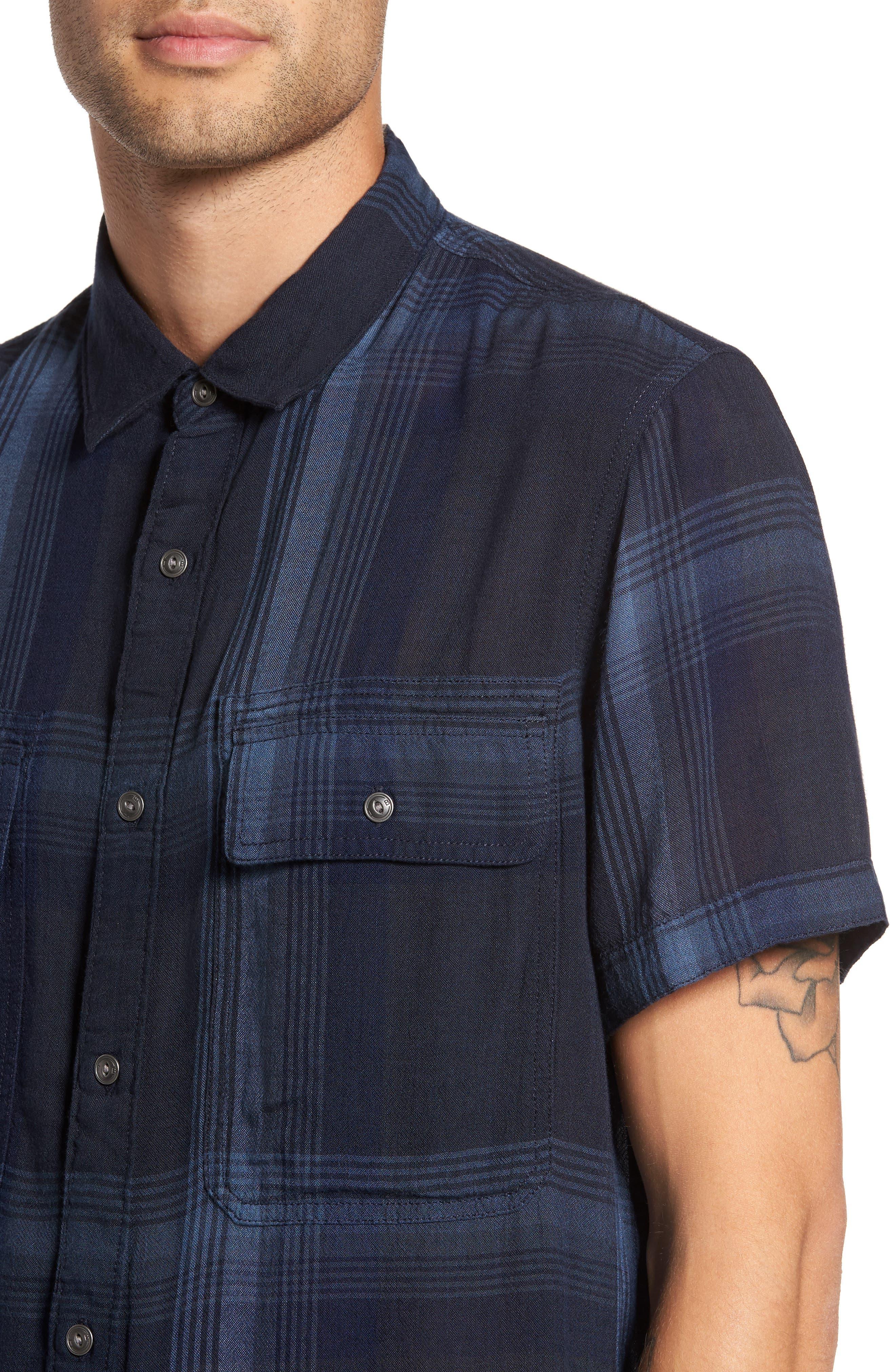 Drapey Sport Shirt,                             Alternate thumbnail 4, color,                             Blue Granite Plaid