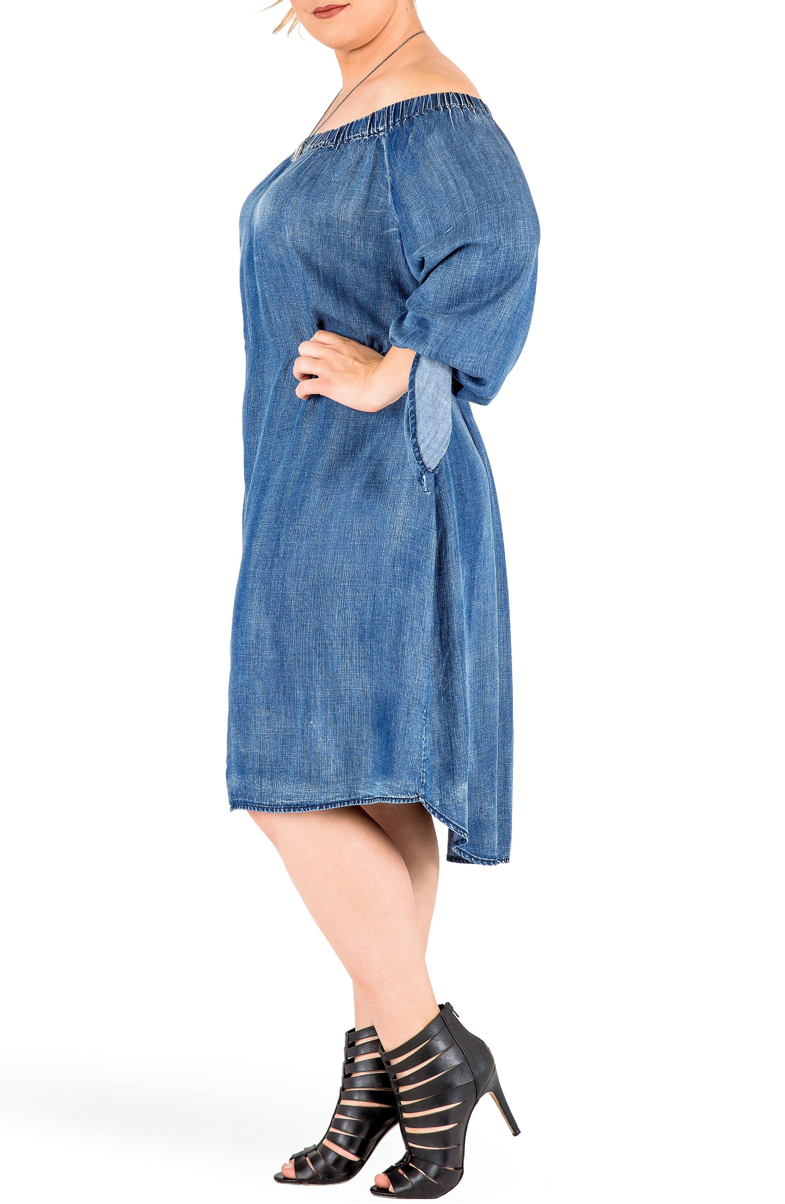 Alternate Image 3  - Standards & Practices Julie Off the Shoulder Denim Dress (Plus Size)