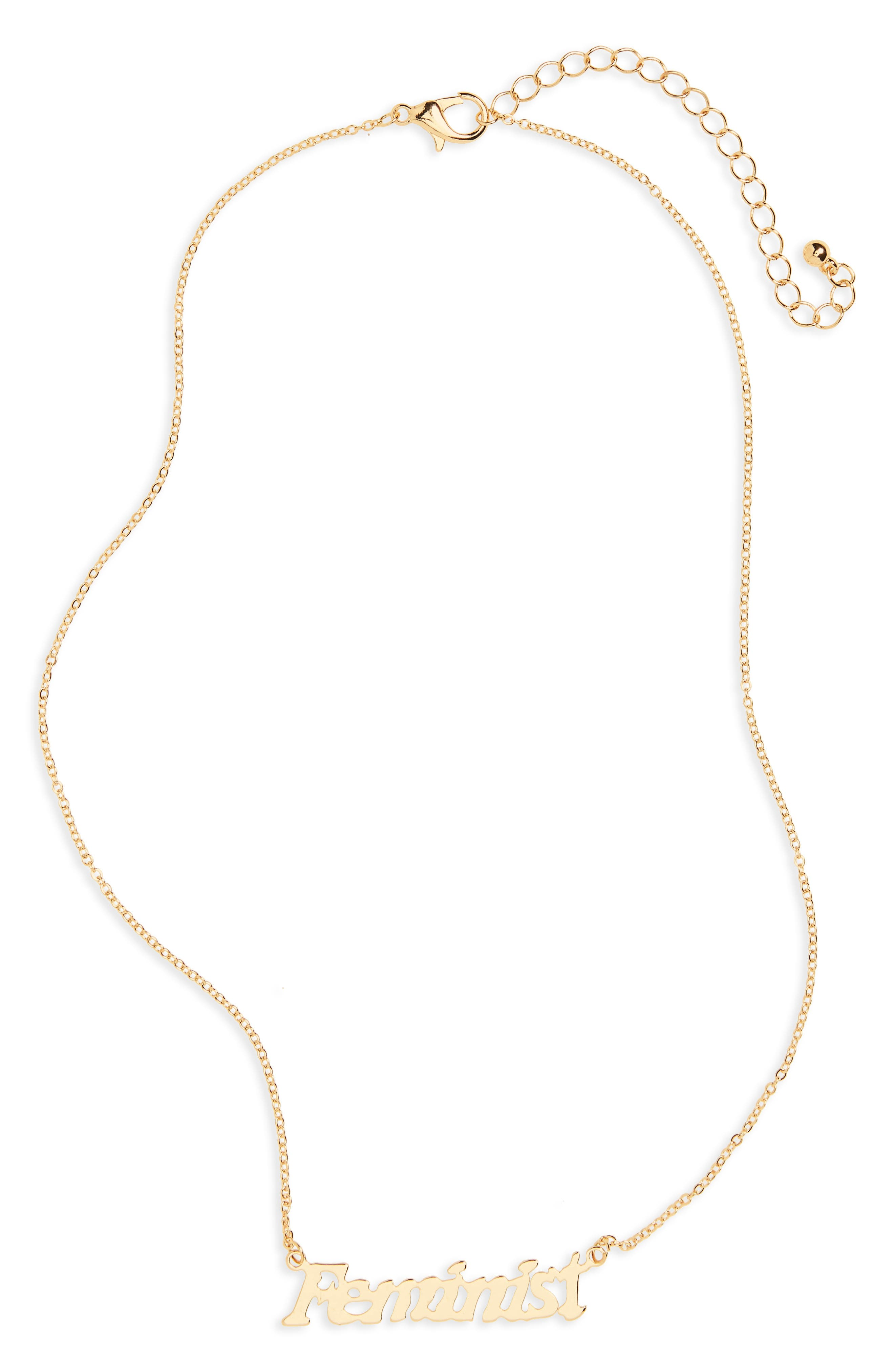 Feminist Necklace,                         Main,                         color, Gold