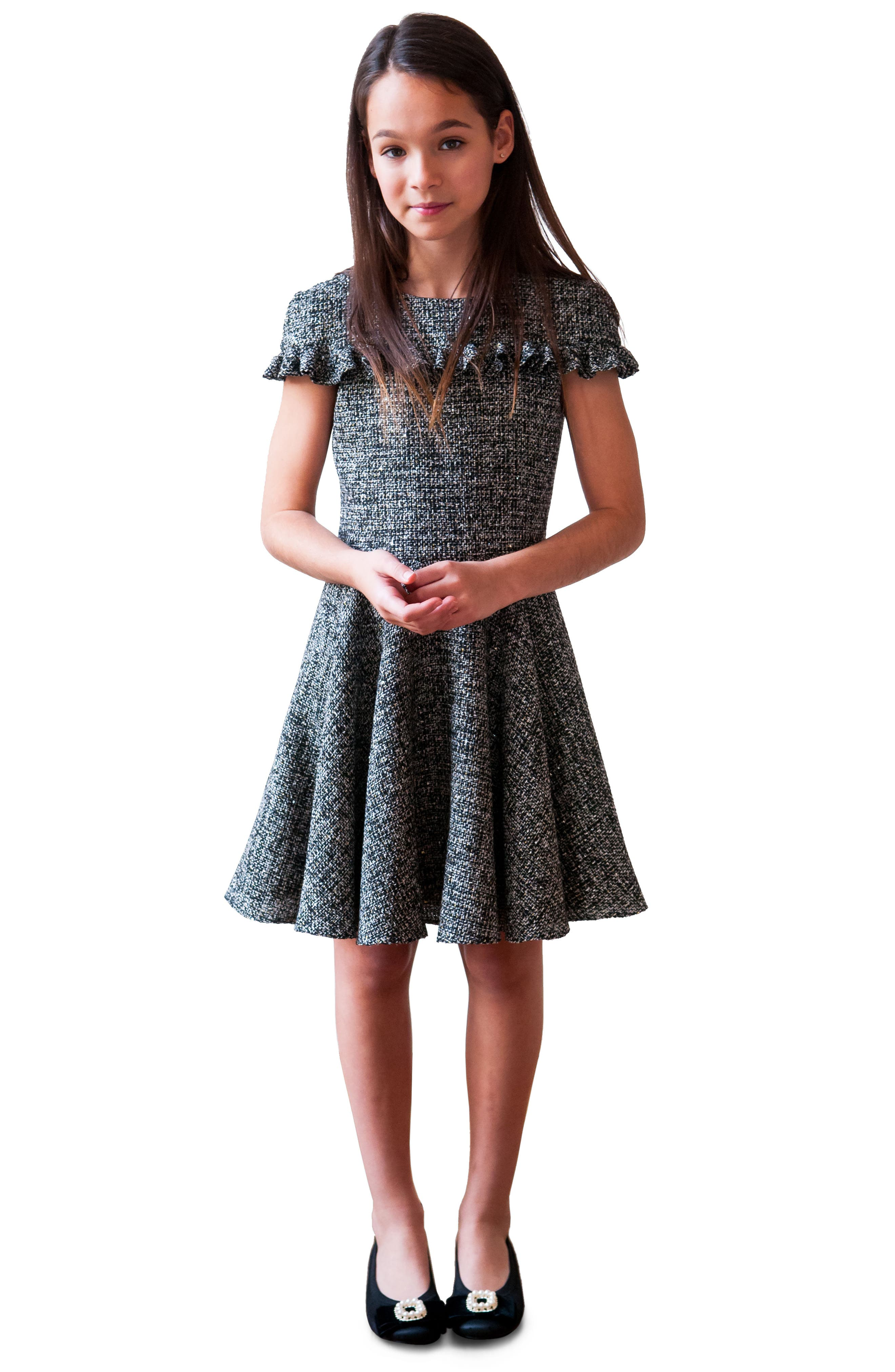 Sequin Tweed Dress,                             Alternate thumbnail 2, color,                             Black
