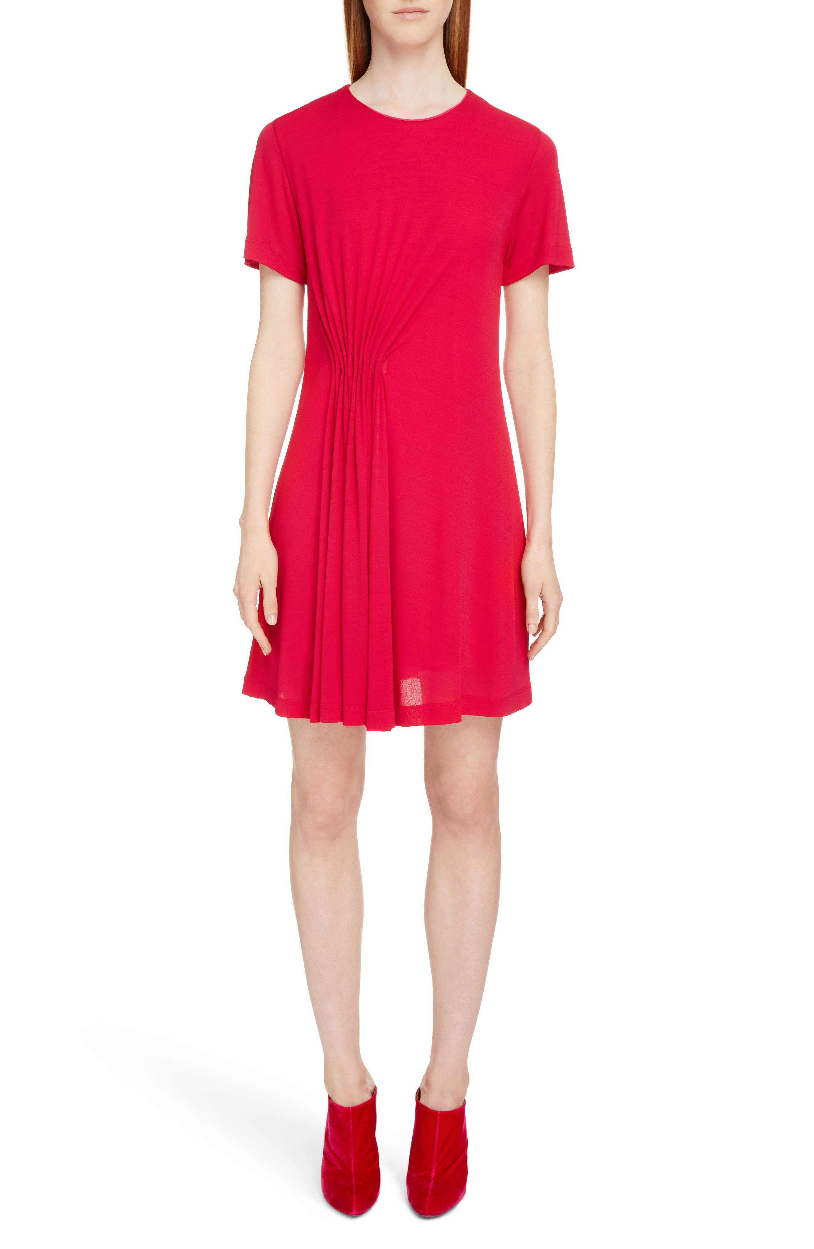 Gathered Jersey Dress,                         Main,                         color, Fuschia