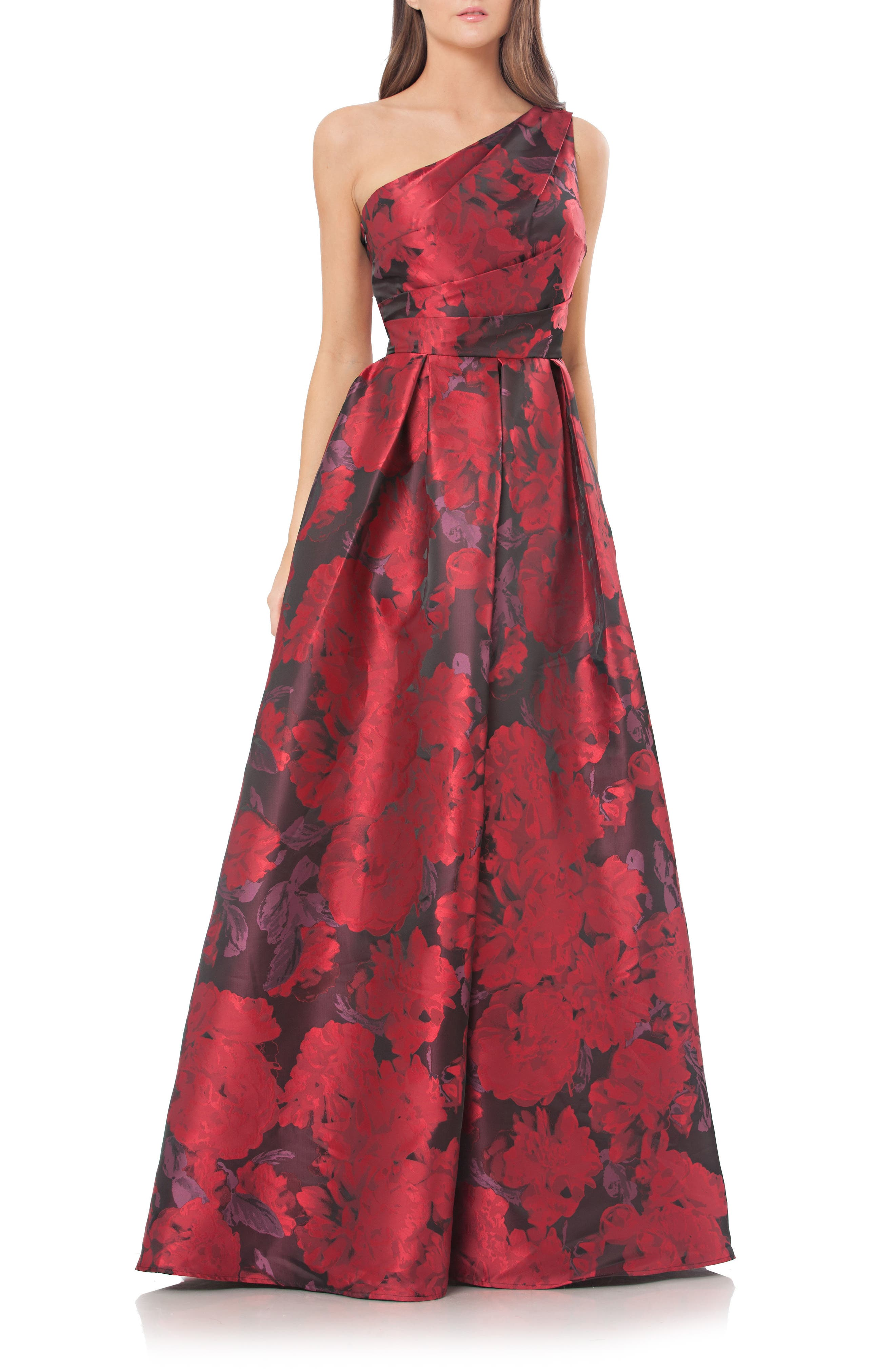 Carmen Marc Valvo Infusion Print One-Shoulder Ballgown,                         Main,                         color, Red-Black