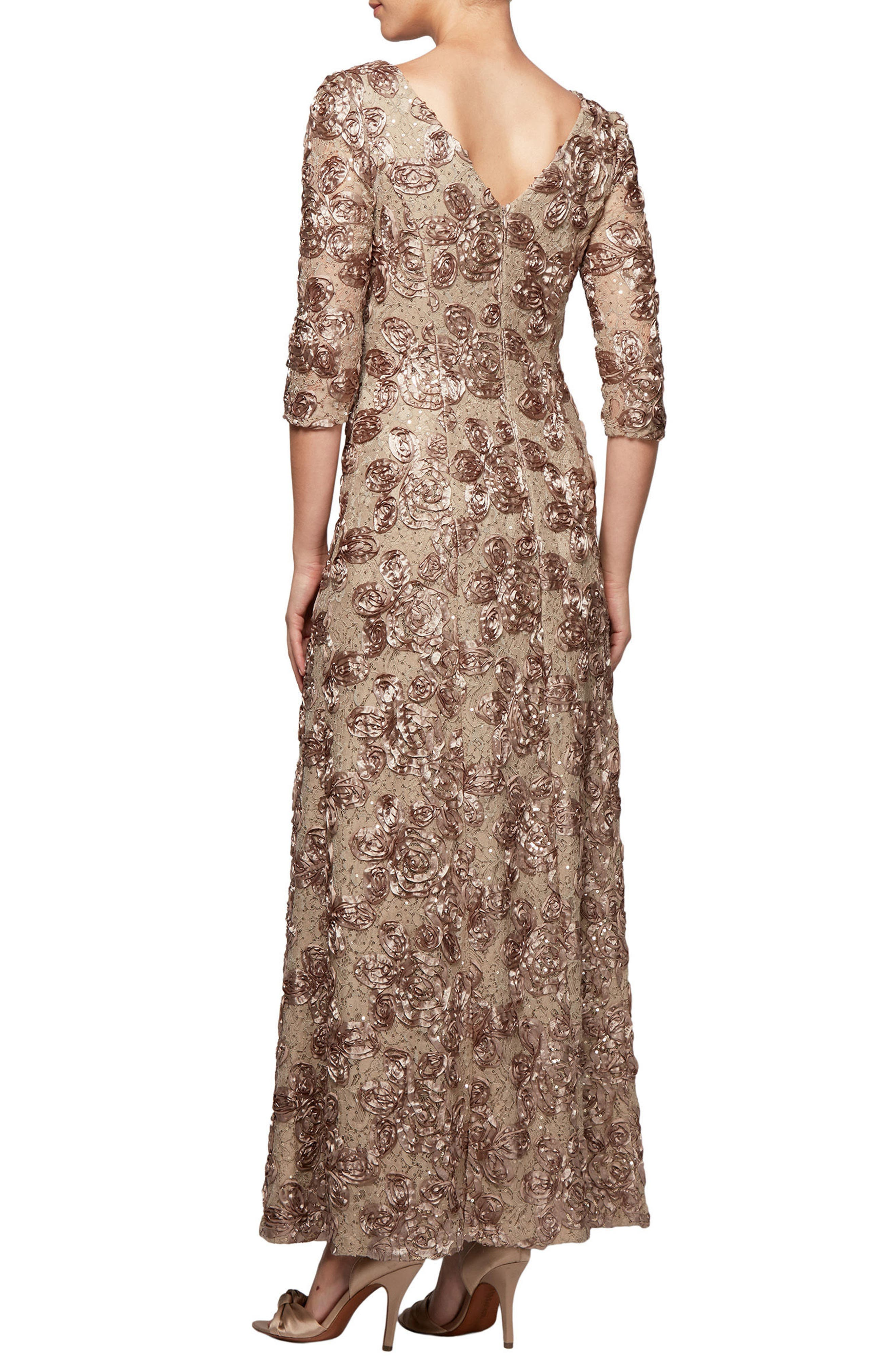 Rosette Detail A-Line Gown,                             Alternate thumbnail 2, color,                             Champagne