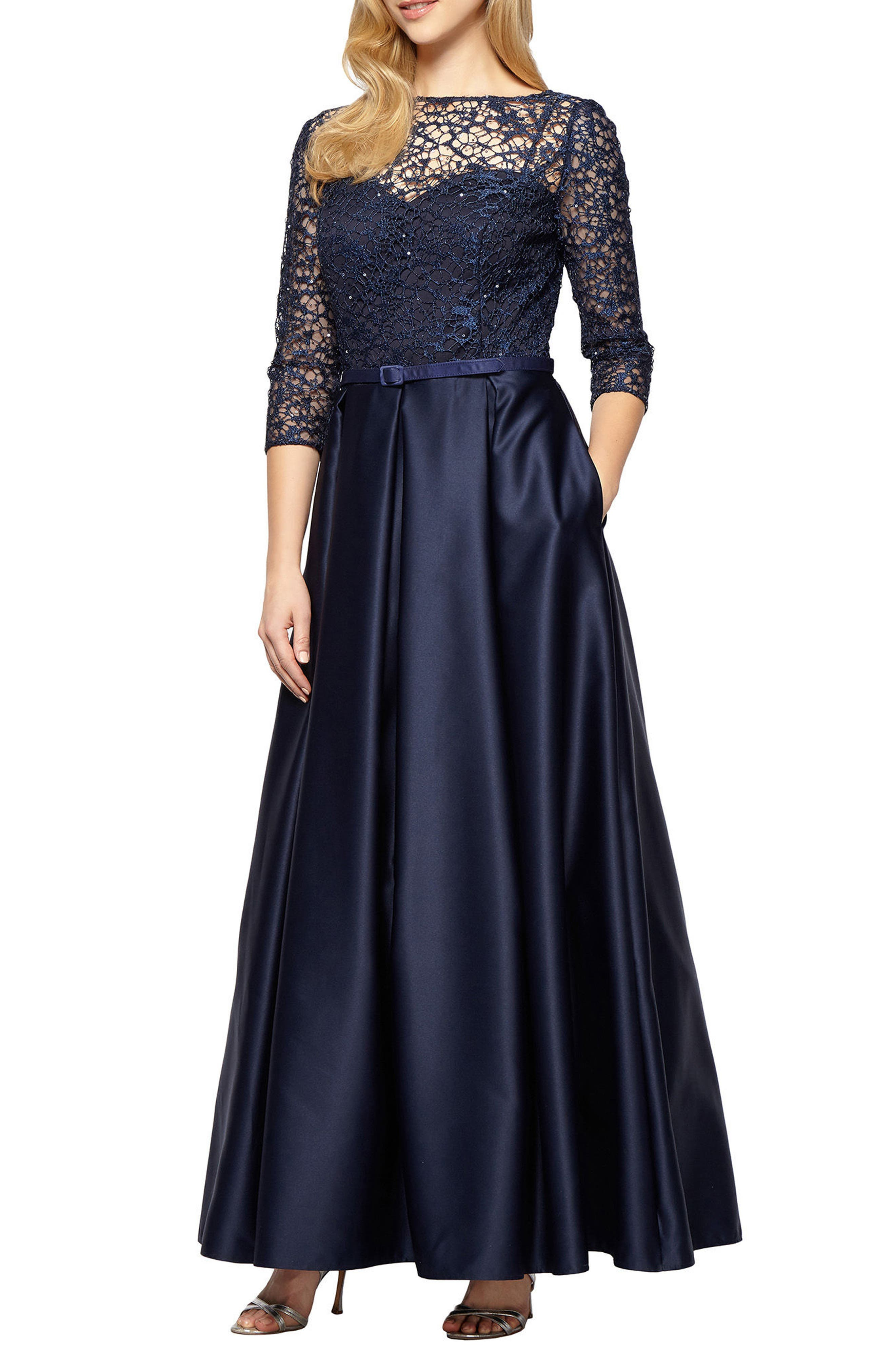 Embellished Lace & Satin Ballgown,                         Main,                         color, Navy