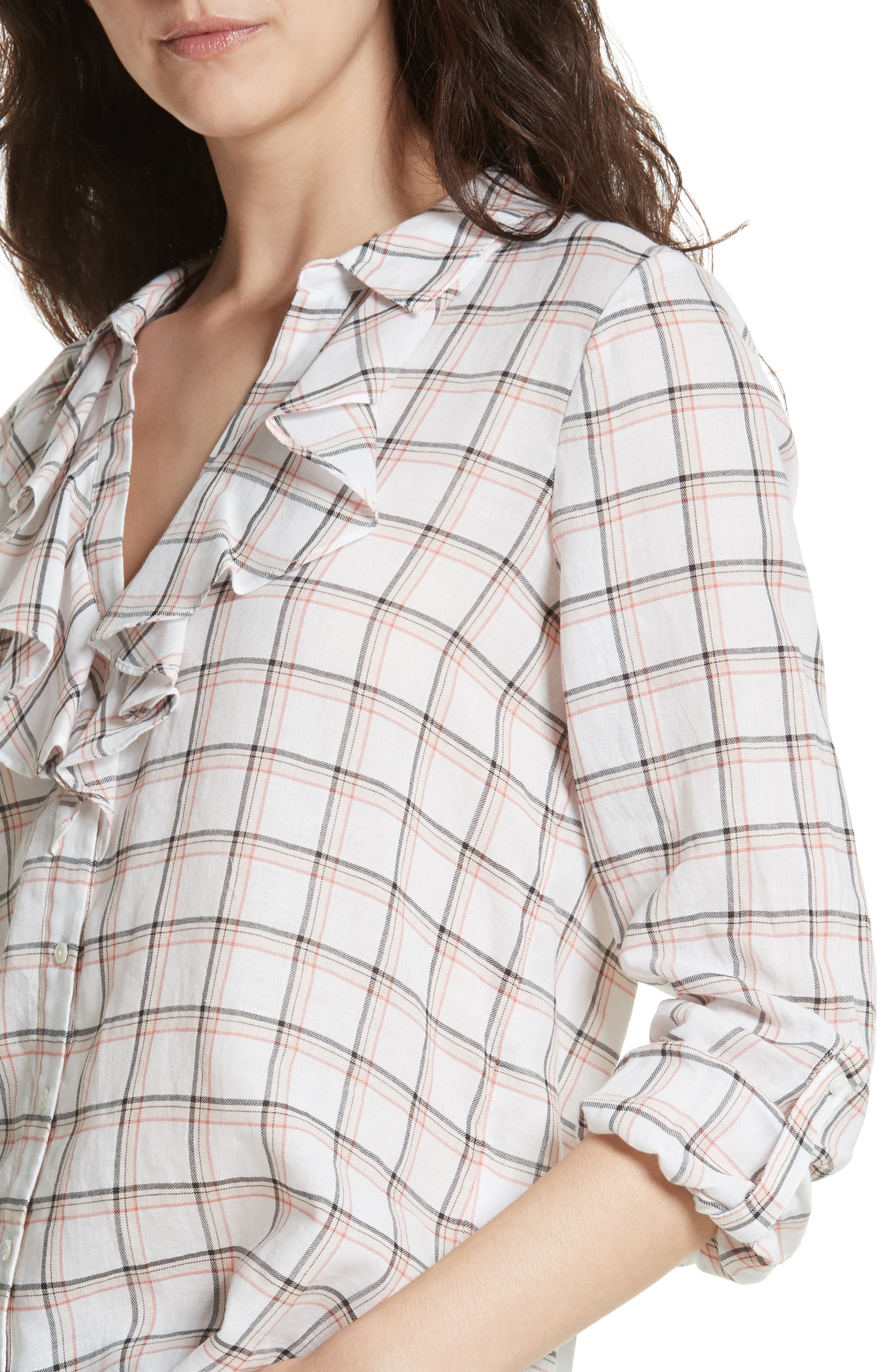 Fara Plaid Top,                             Alternate thumbnail 4, color,                             Porcelain
